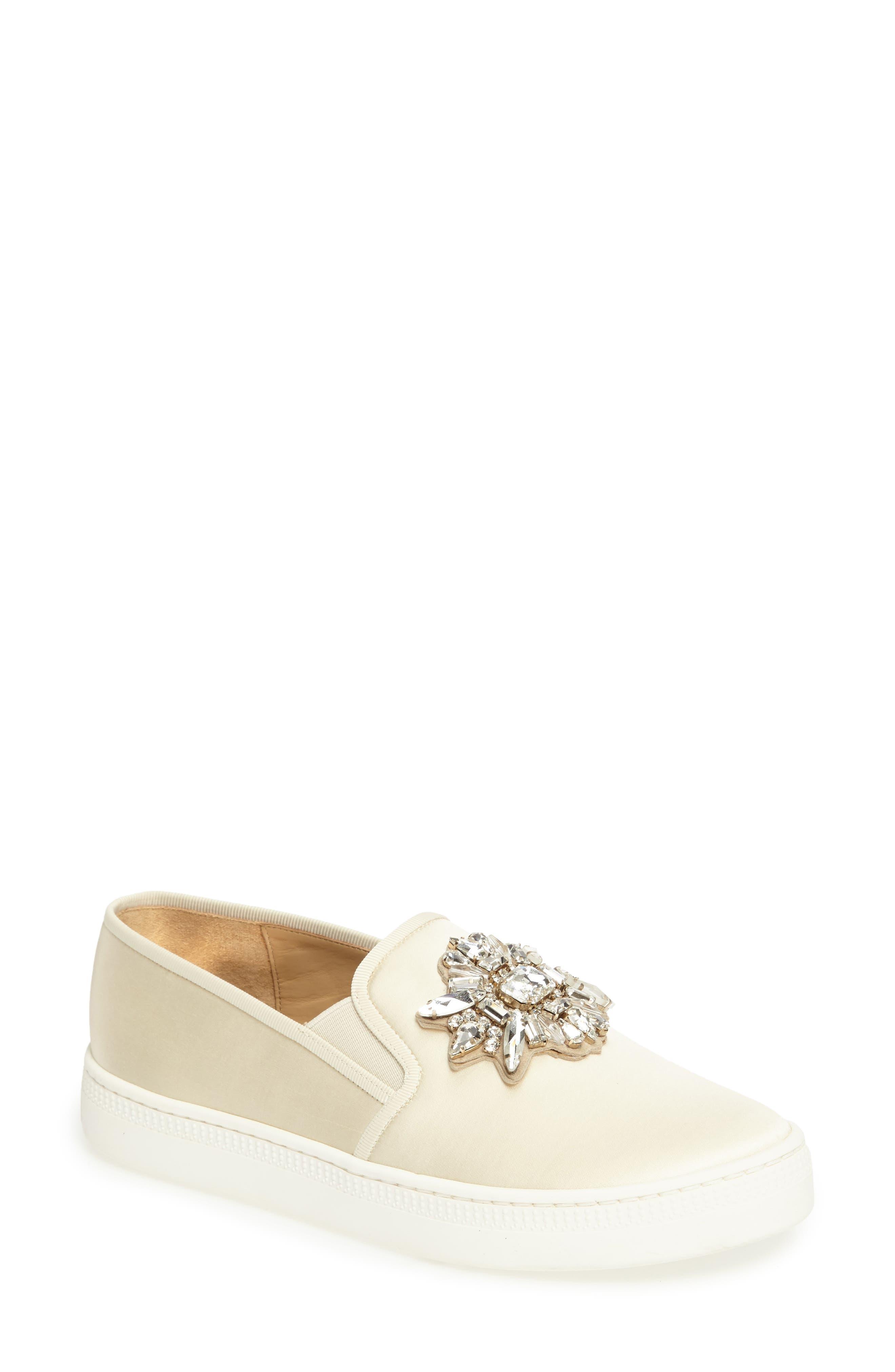 Barre Crystal Embellished Slip-On Sneaker,                             Main thumbnail 1, color,                             Ivory Satin