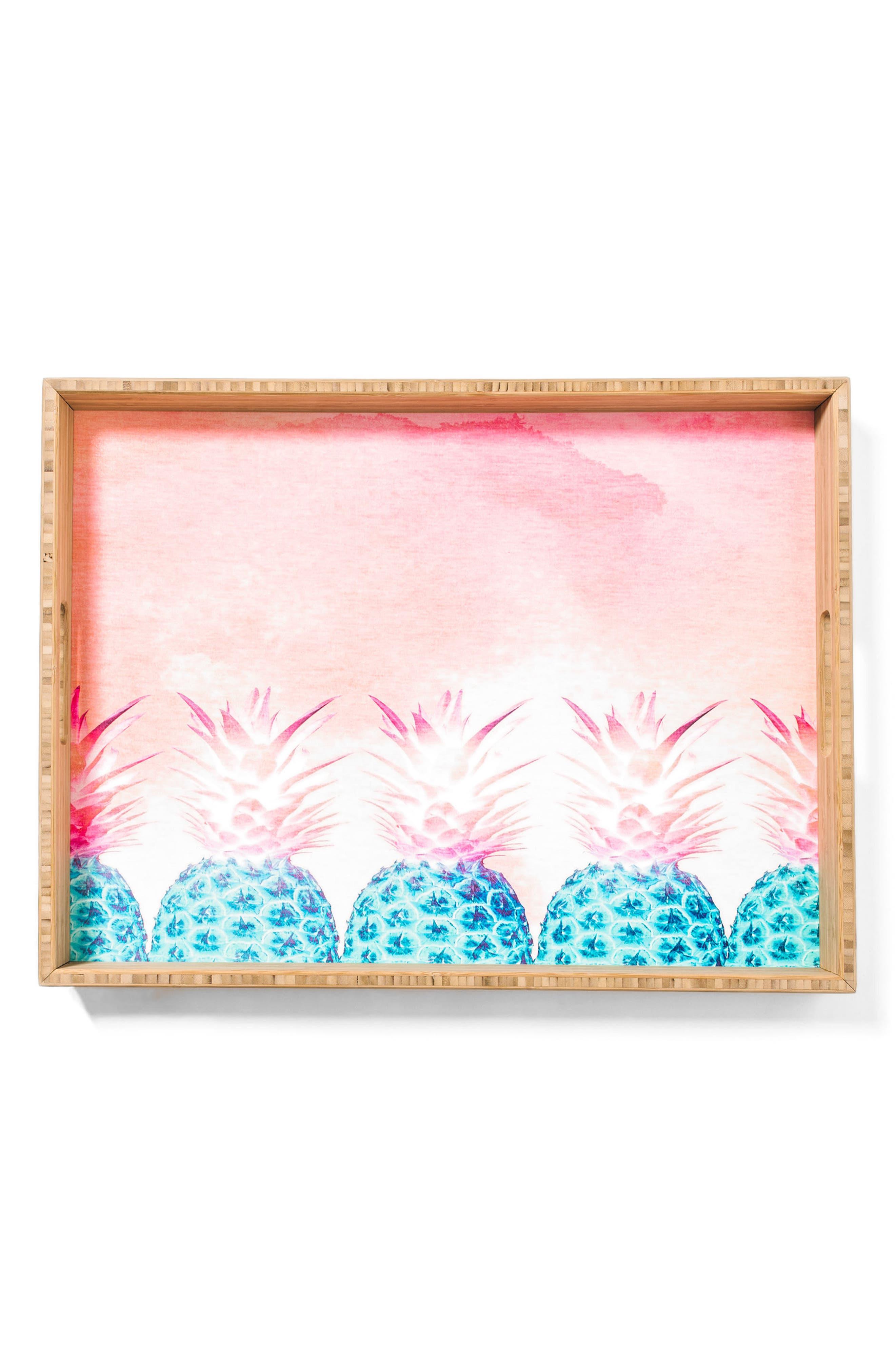 Pineapple Farm Serving Tray,                             Main thumbnail 1, color,                             Pink