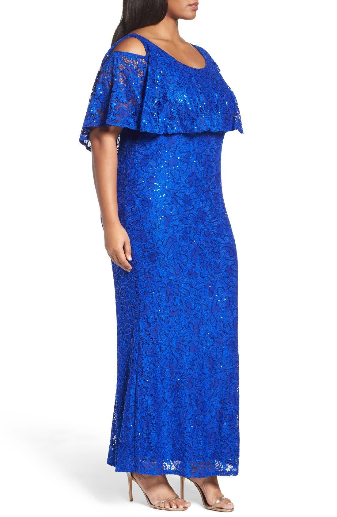 Alternate Image 3  - Marina Sequin Lace Cold Shoulder Long Dress (Plus Size)