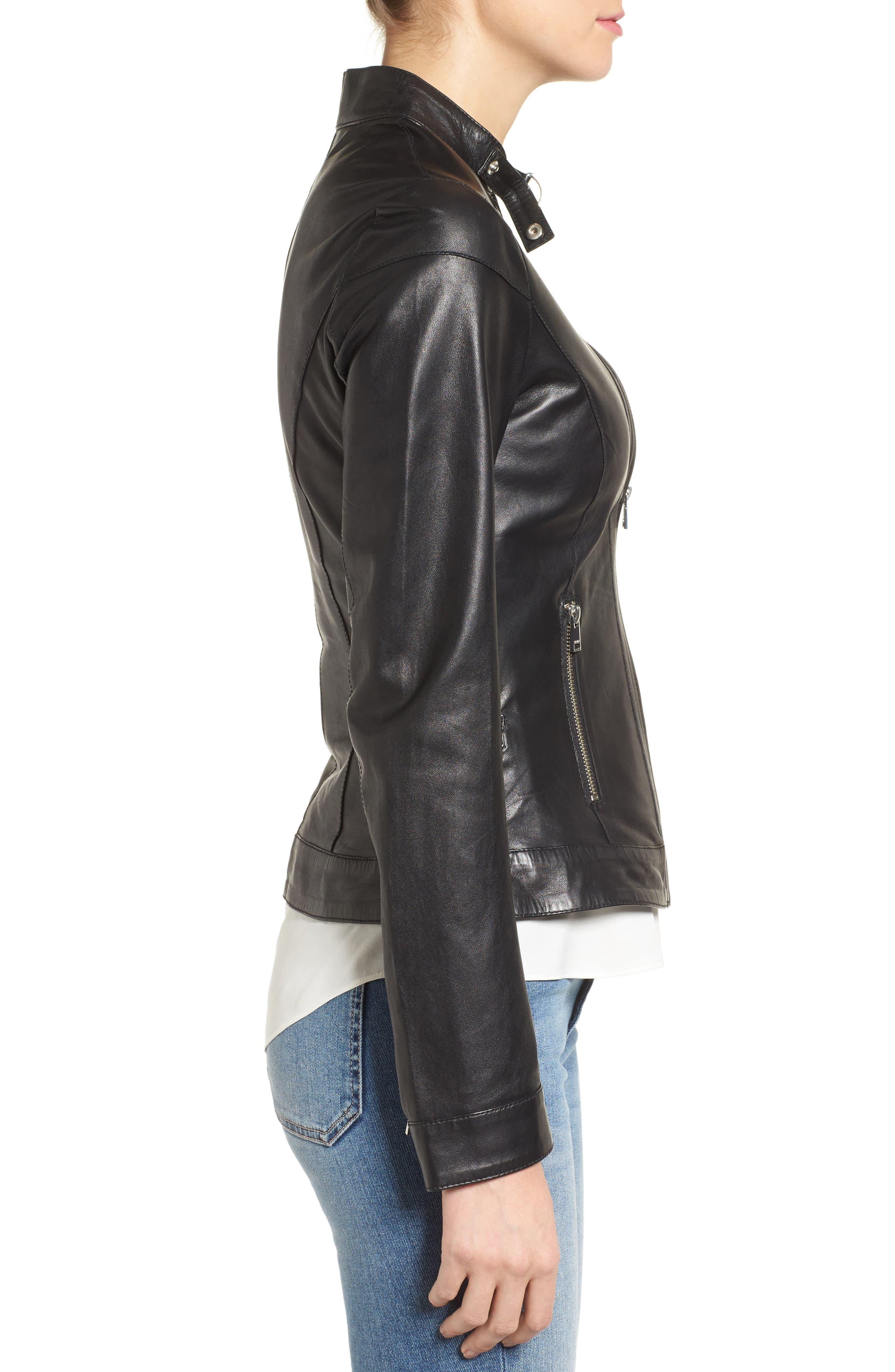 Alternate Image 3  - LAMARQUE Lambskin Leather Biker Jacket