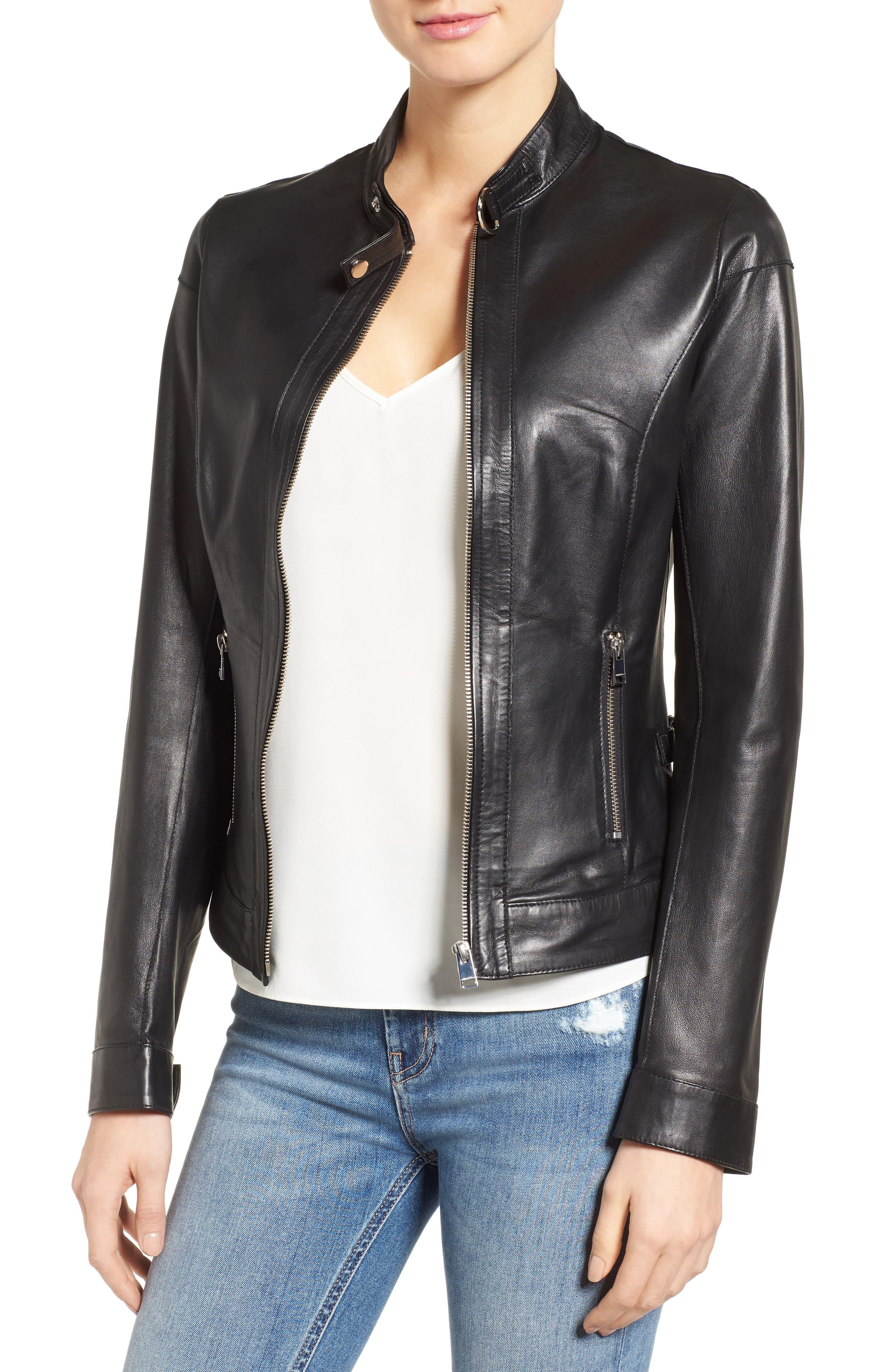 Alternate Image 1 Selected - LAMARQUE Lambskin Leather Biker Jacket