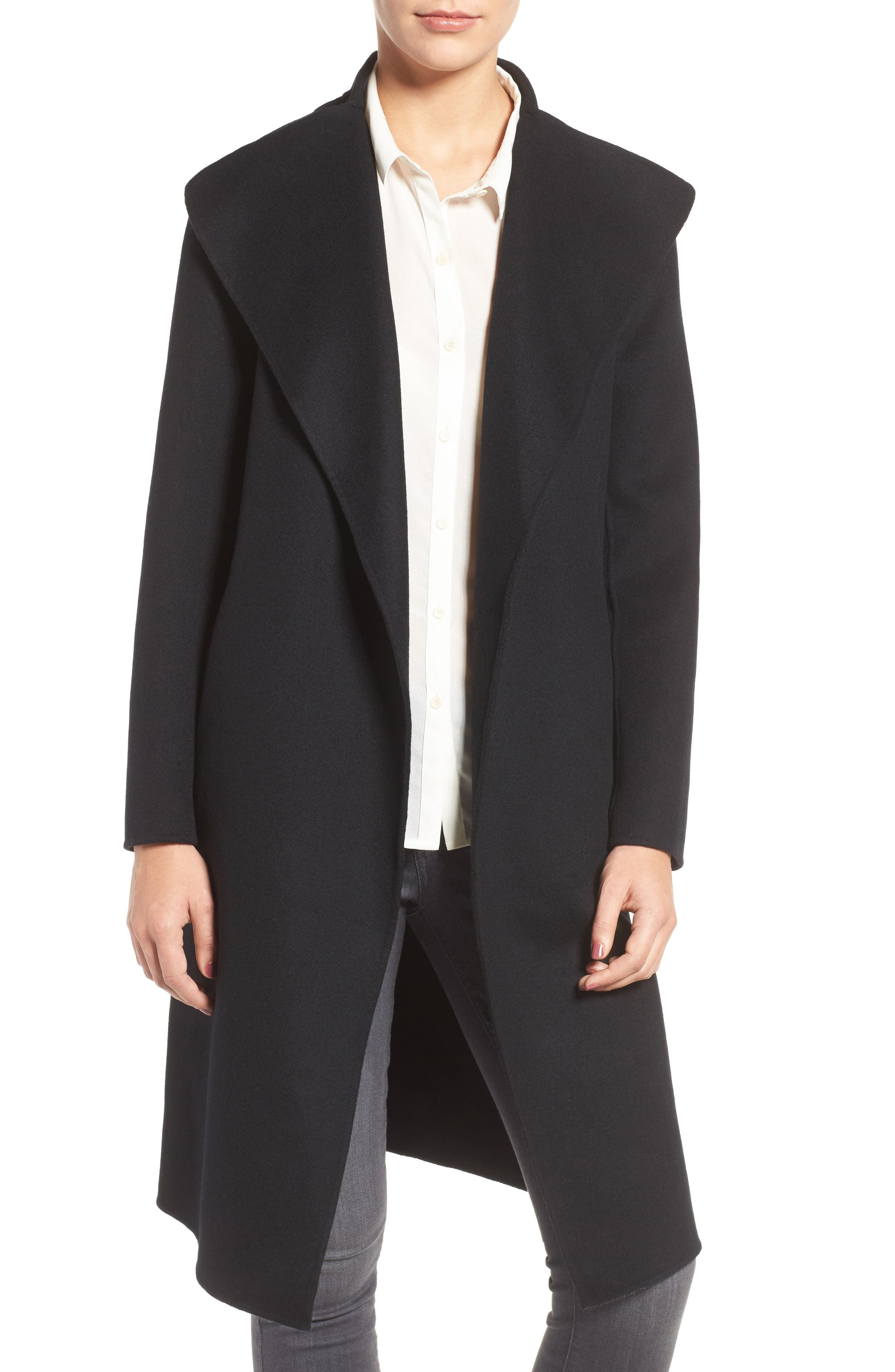 Belted Long Wool Coat,                             Main thumbnail 1, color,                             Black