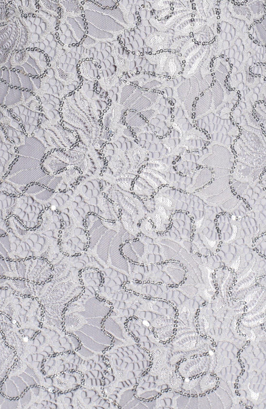 Alternate Image 5  - Marina Sequin Lace Cold Shoulder Long Dress (Plus Size)