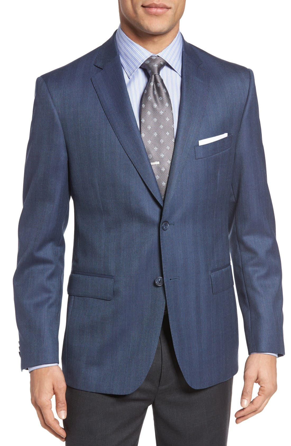 Classic Fit Herringbone Wool Sport Coat,                             Main thumbnail 1, color,                             Blue