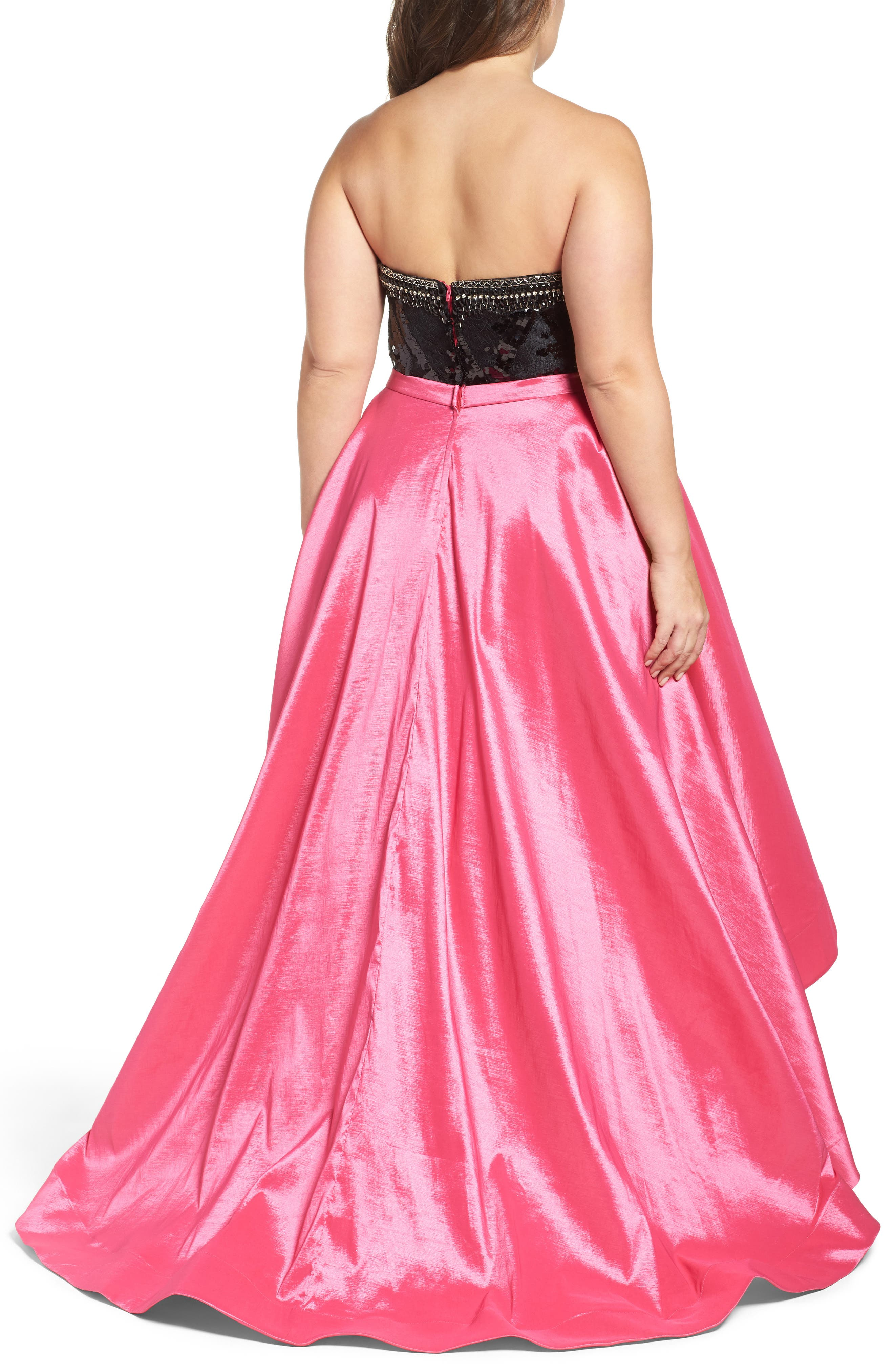Embellished Lace & Taffeta Strapless High/Low Gown,                             Alternate thumbnail 2, color,                             Hot Pink/ Black
