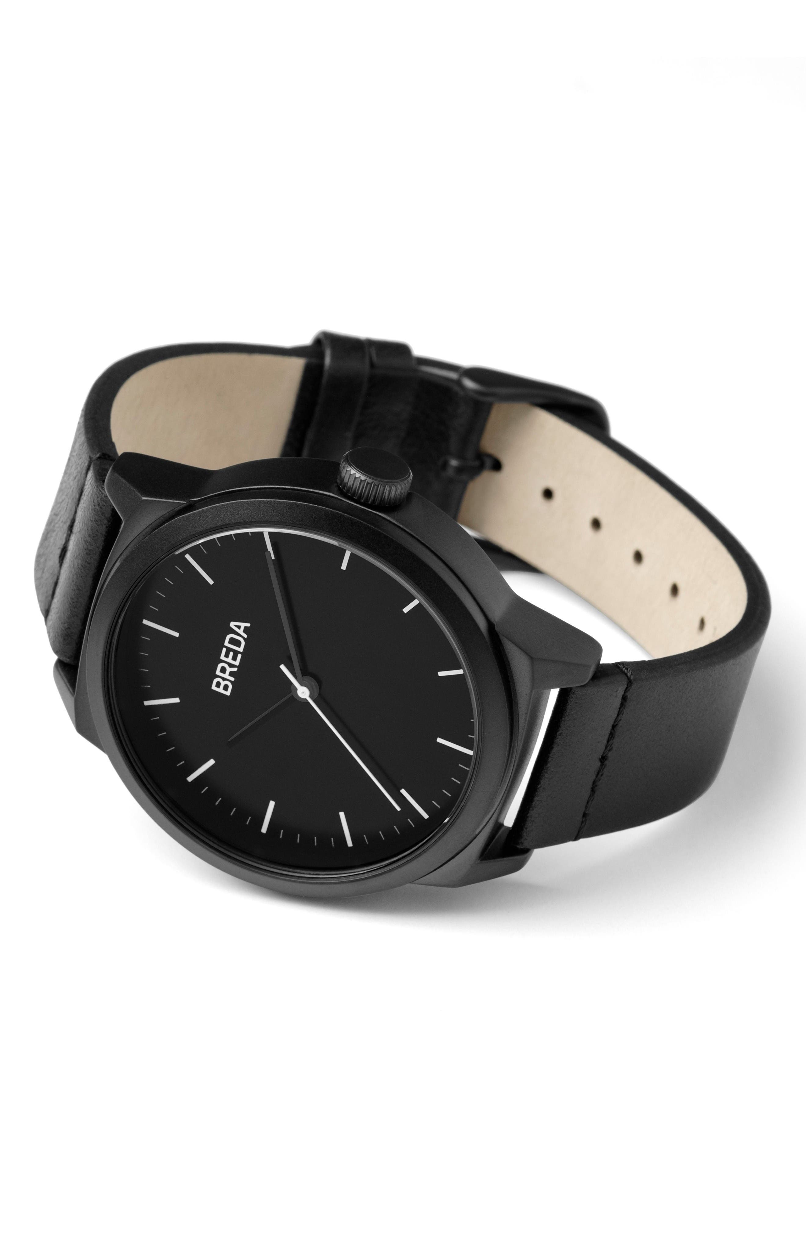 Rand Leather Strap Watch, 43mm,                             Alternate thumbnail 3, color,                             Black/ Black