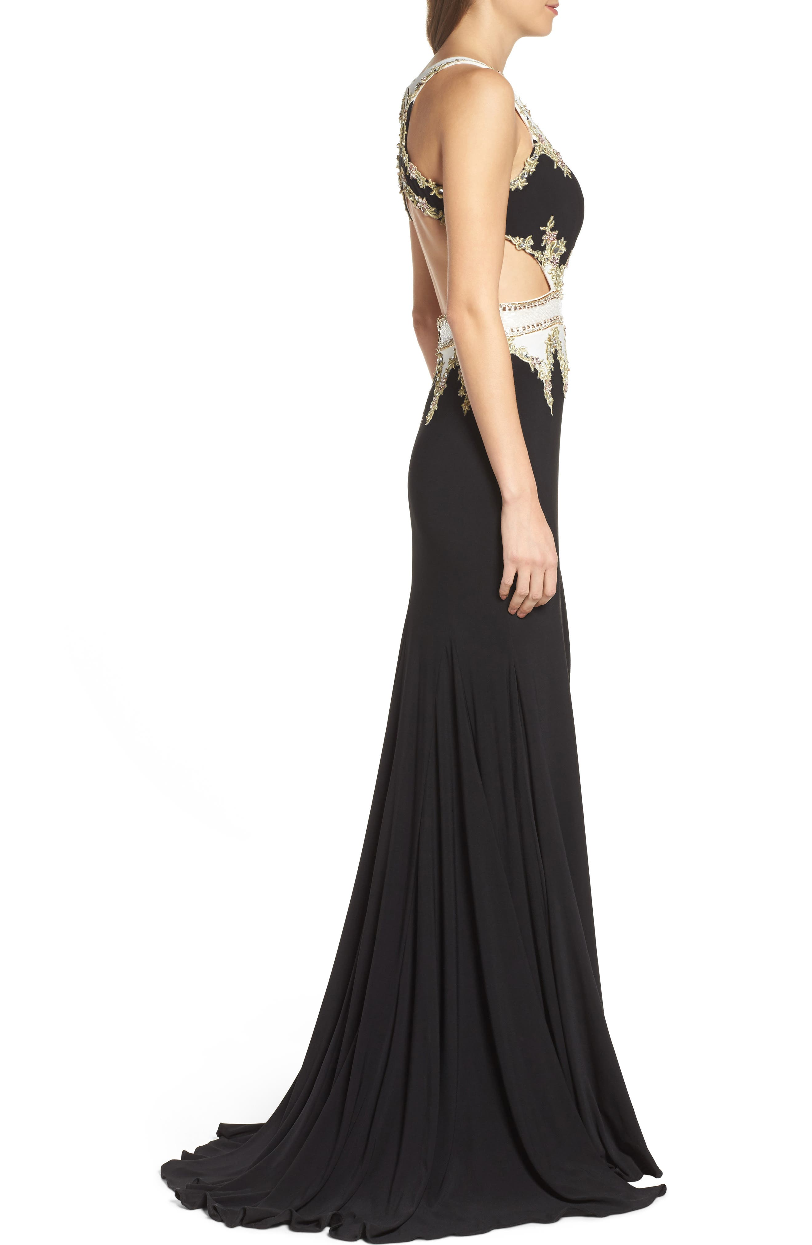 Embellished Cutout Jersey Gown,                             Alternate thumbnail 3, color,                             Black/ White