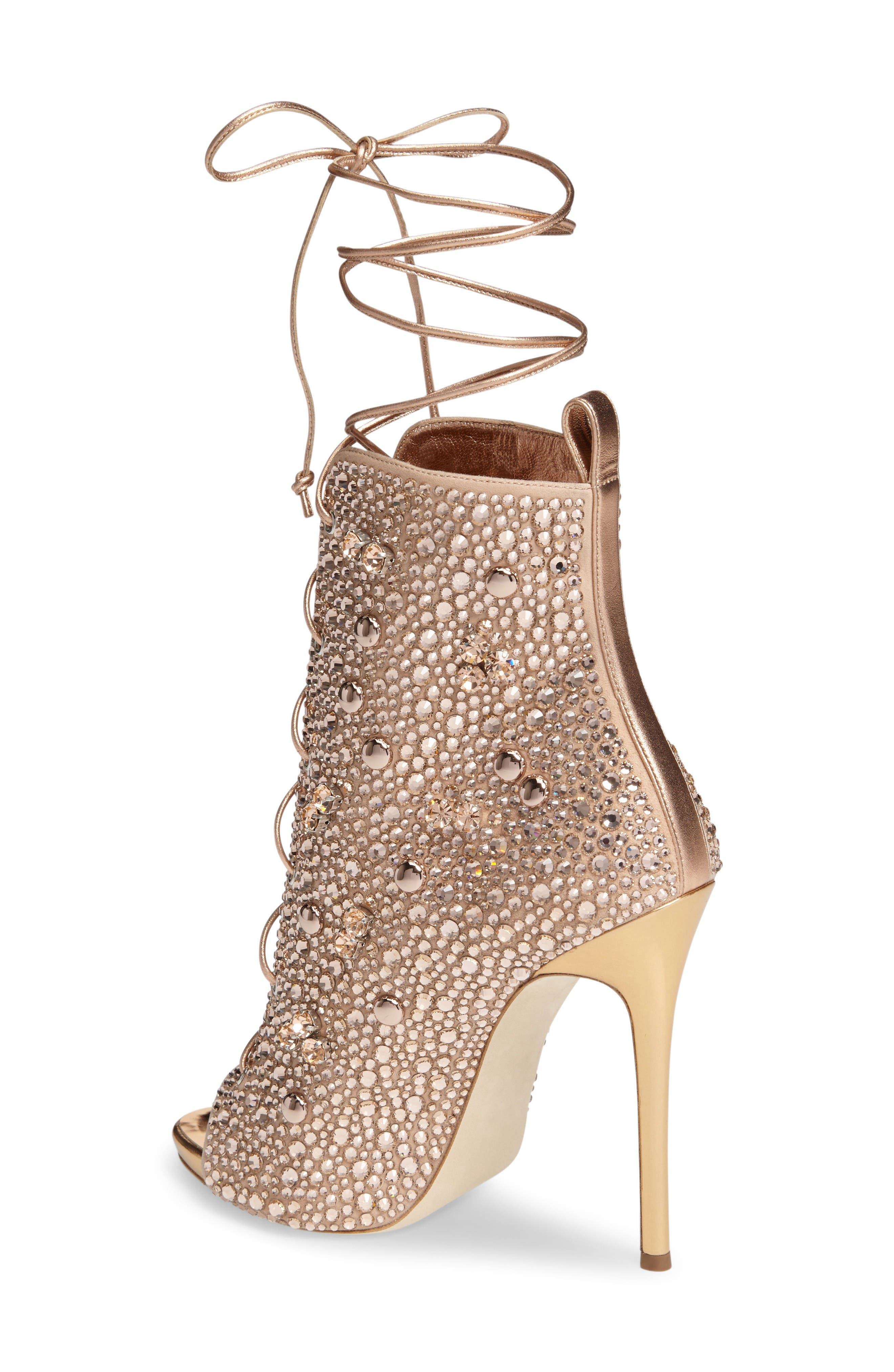 Giuseppe for Jennifer Lopez Lynda Embellished Lace-Up Sandal,                             Alternate thumbnail 2, color,                             Metallic Gold