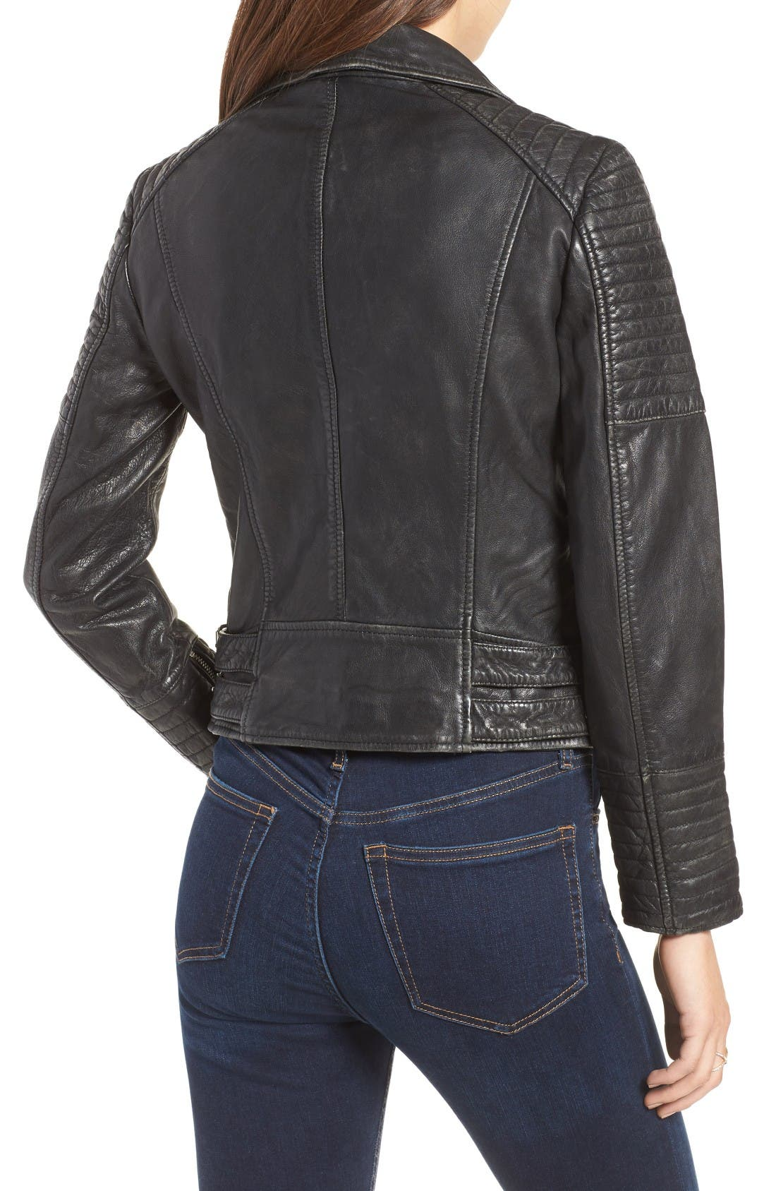 Alternate Image 2  - Topshop Elton Quilted Leather Jacket