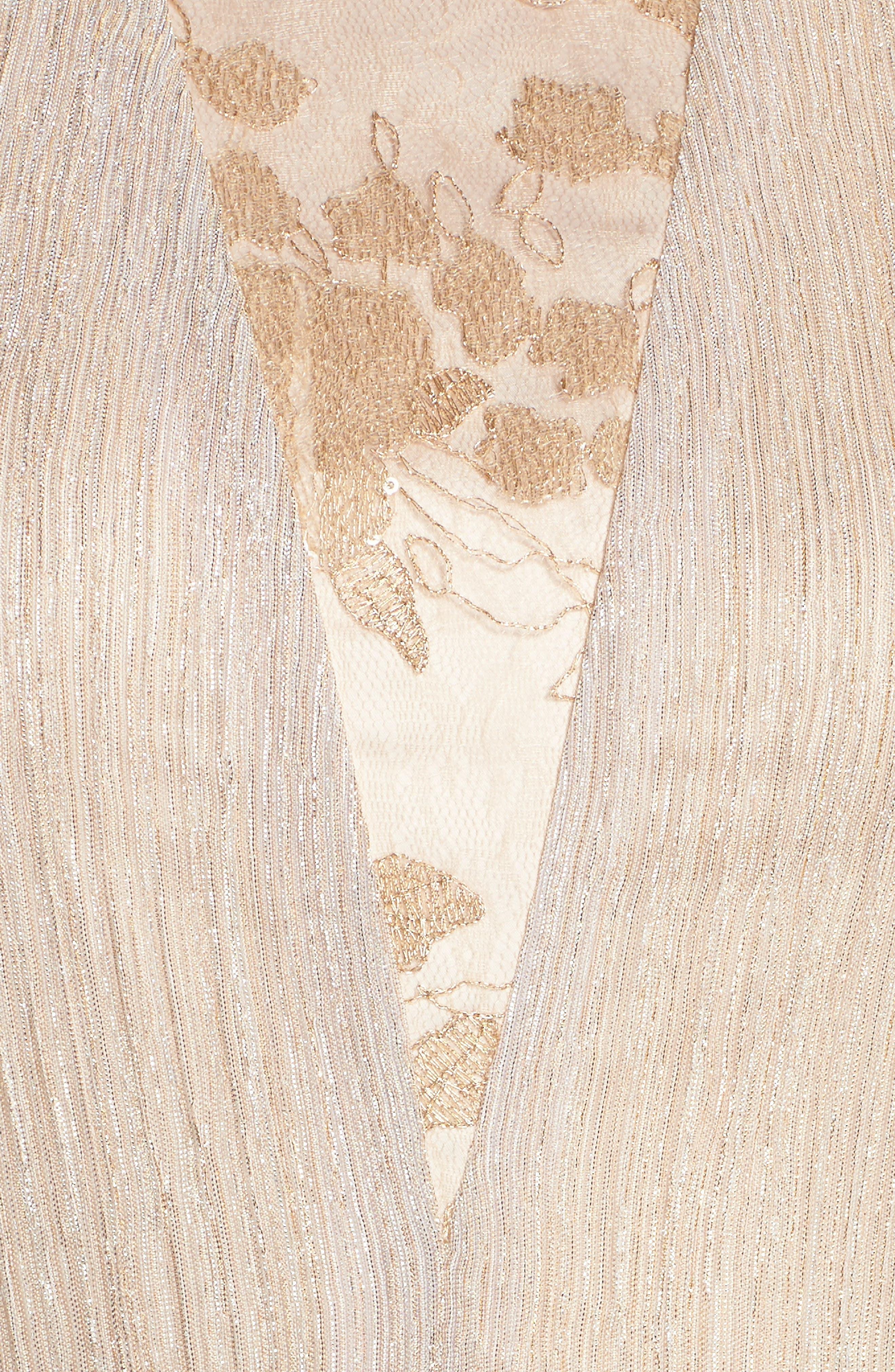 Alternate Image 5  - Tahari Metallic Pleated Midi Dress (Regular & Petite)