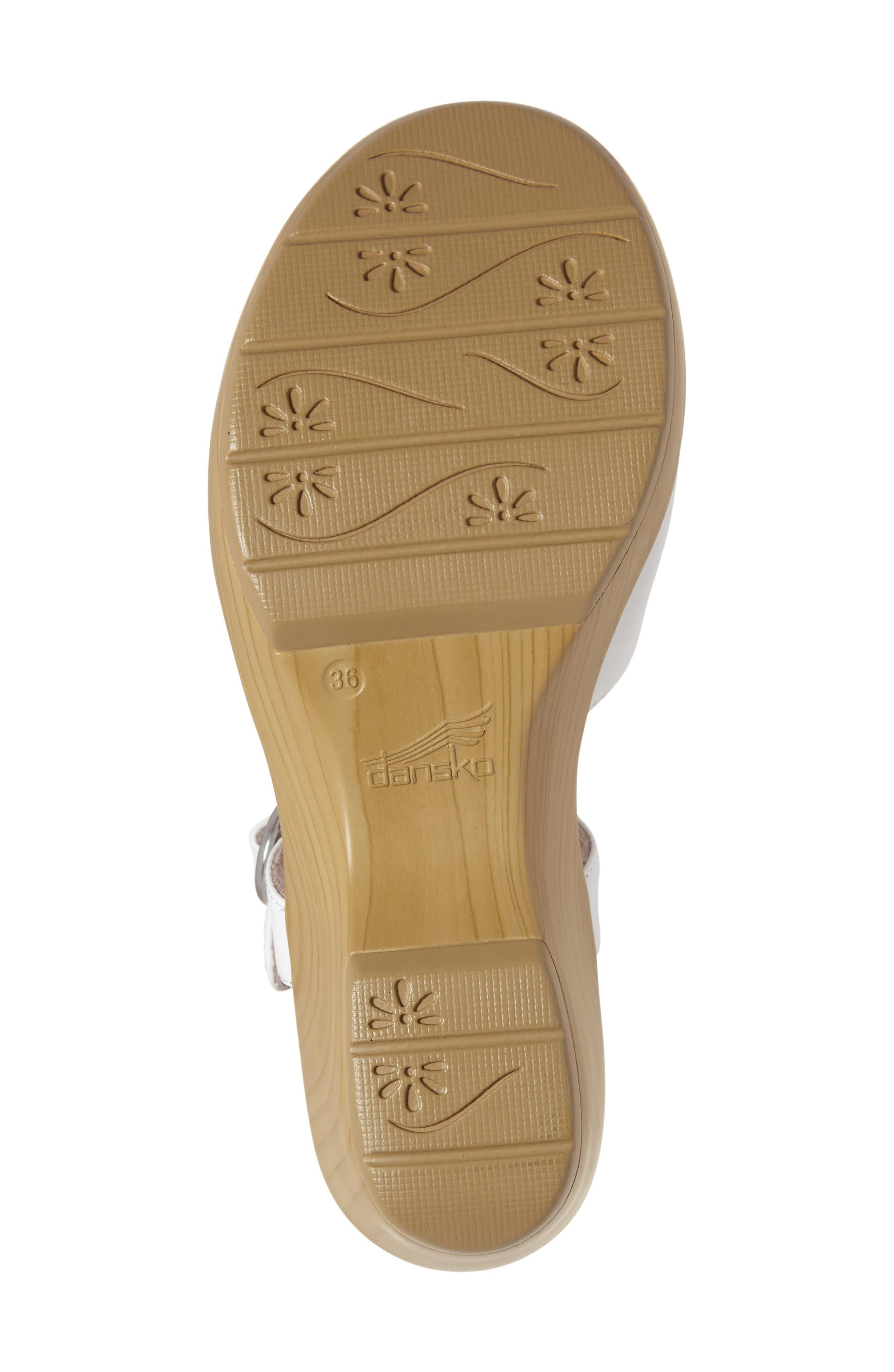 June Platform Sandal,                             Alternate thumbnail 4, color,                             White Leather