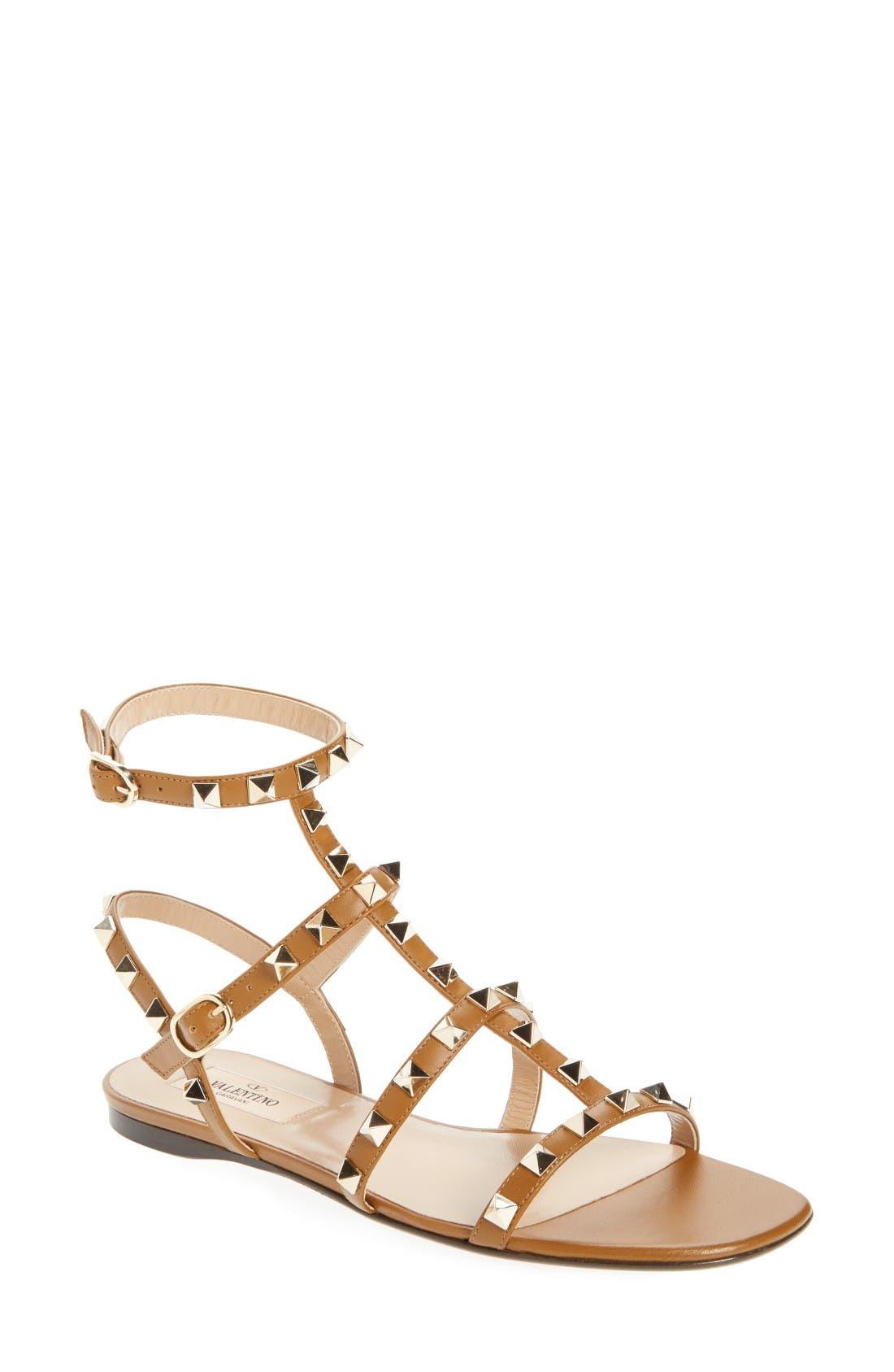 Rockstud Gladiator Sandal,                         Main,                         color, Brown
