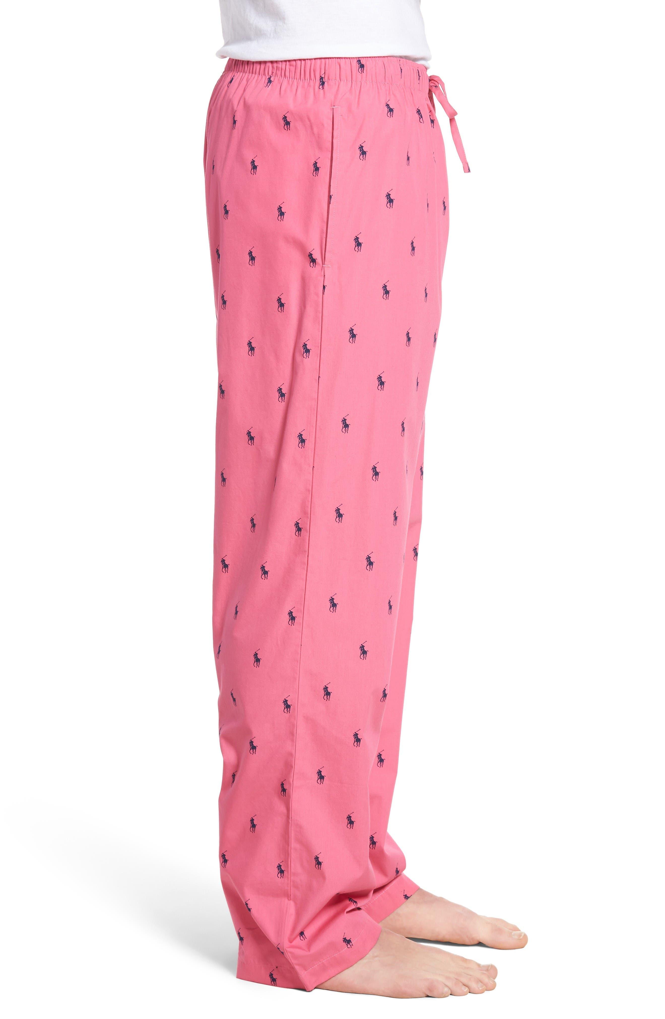 Cotton Lounge Pants,                             Alternate thumbnail 3, color,                             Madison Pink