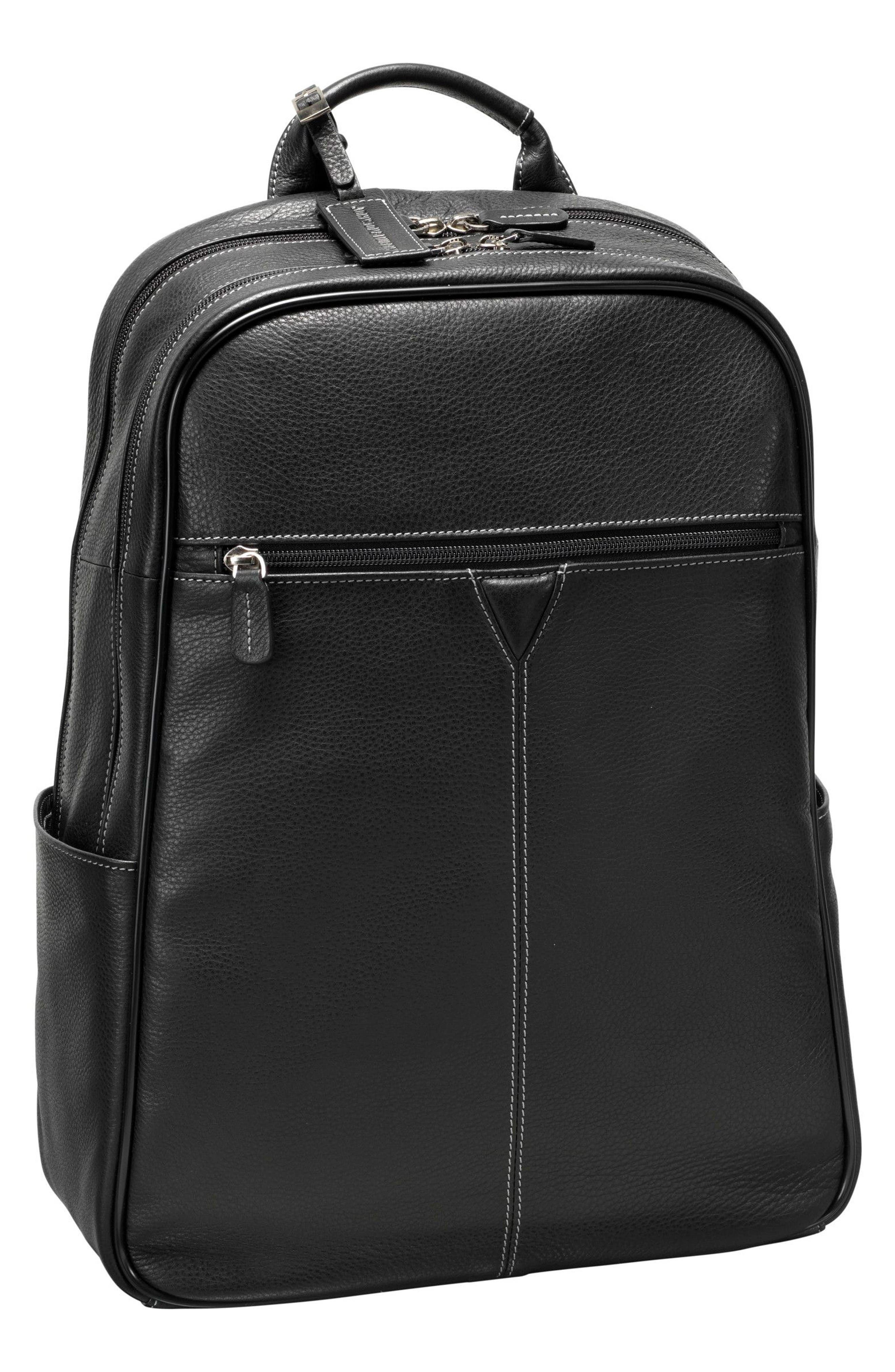 Leather Backpack,                             Main thumbnail 1, color,                             Black