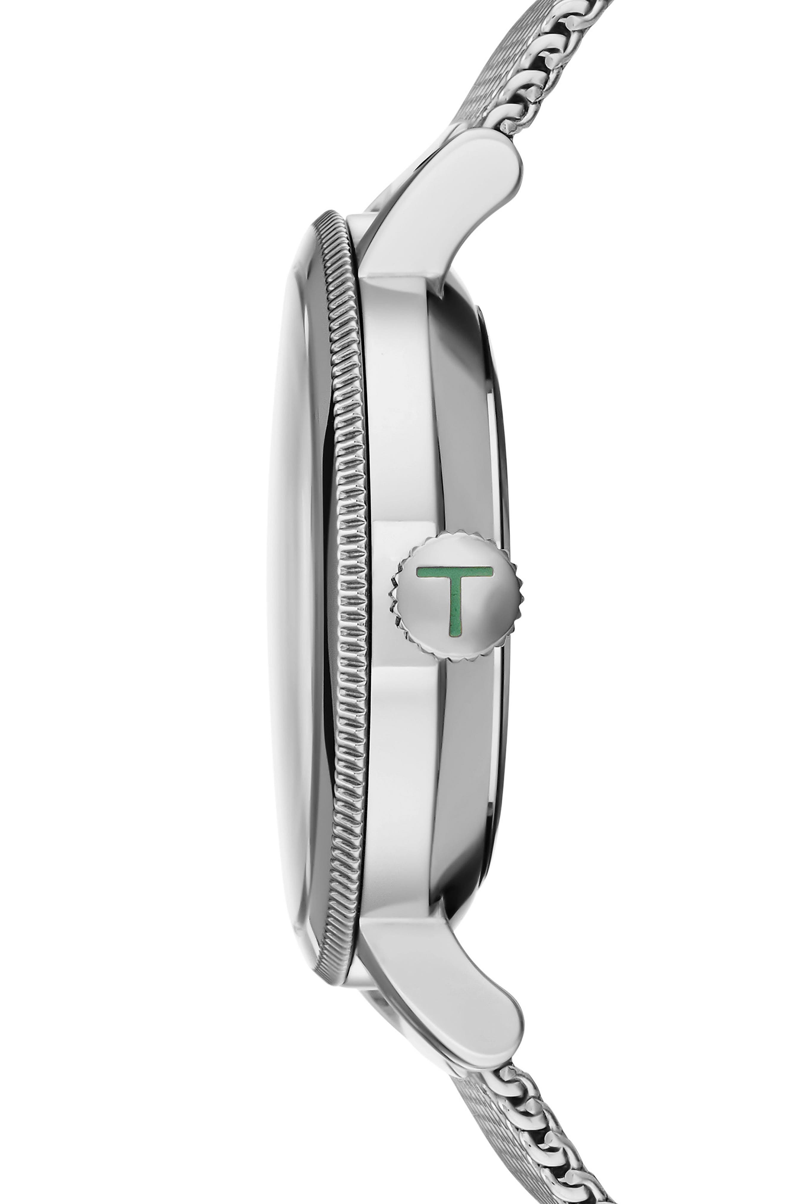 Connor Mesh Strap Watch, 42mm,                             Alternate thumbnail 3, color,                             Gunmetal/Silver