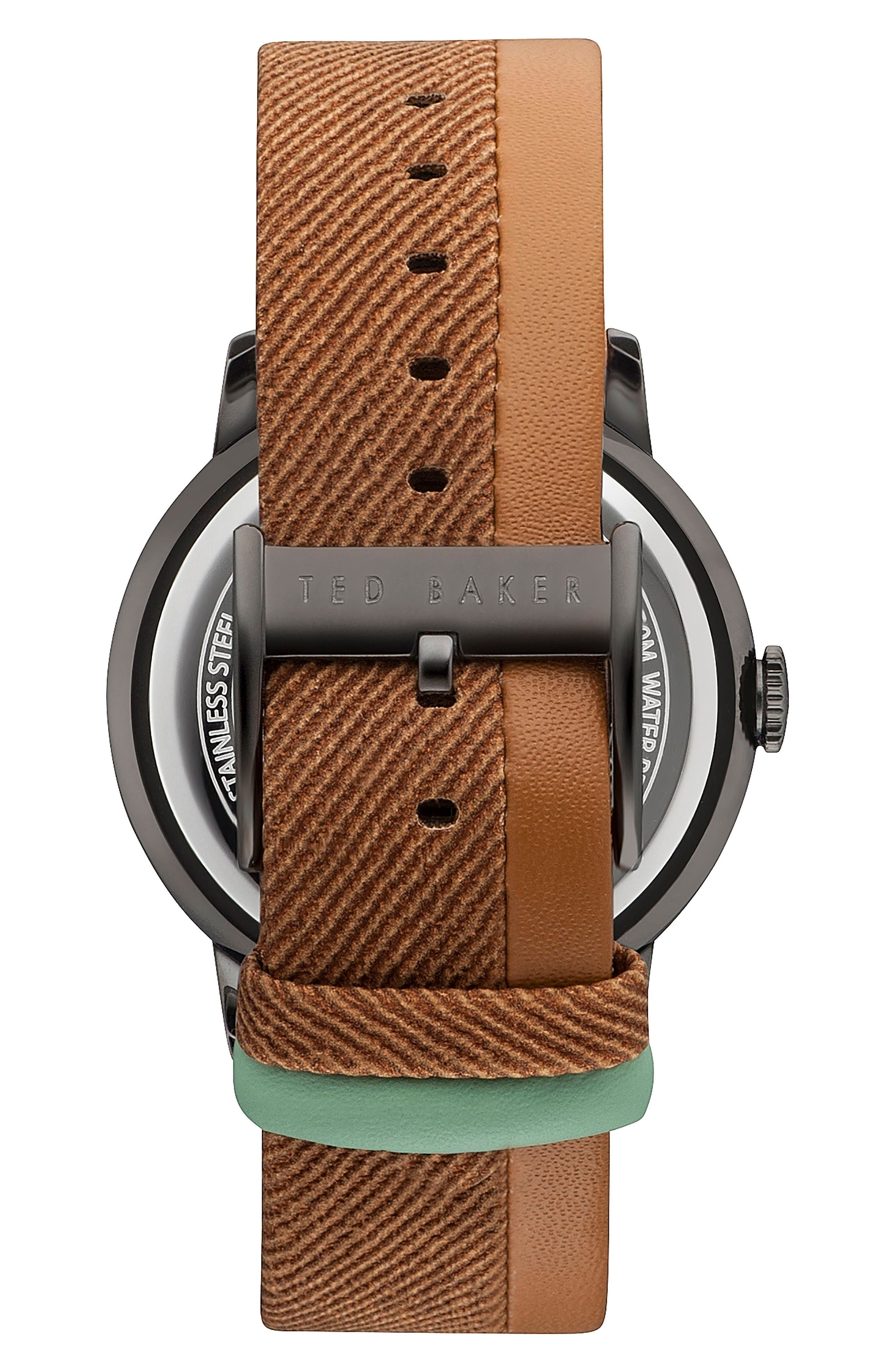 Alternate Image 2  - Ted Baker London Daniel Leather Strap Watch, 42mm