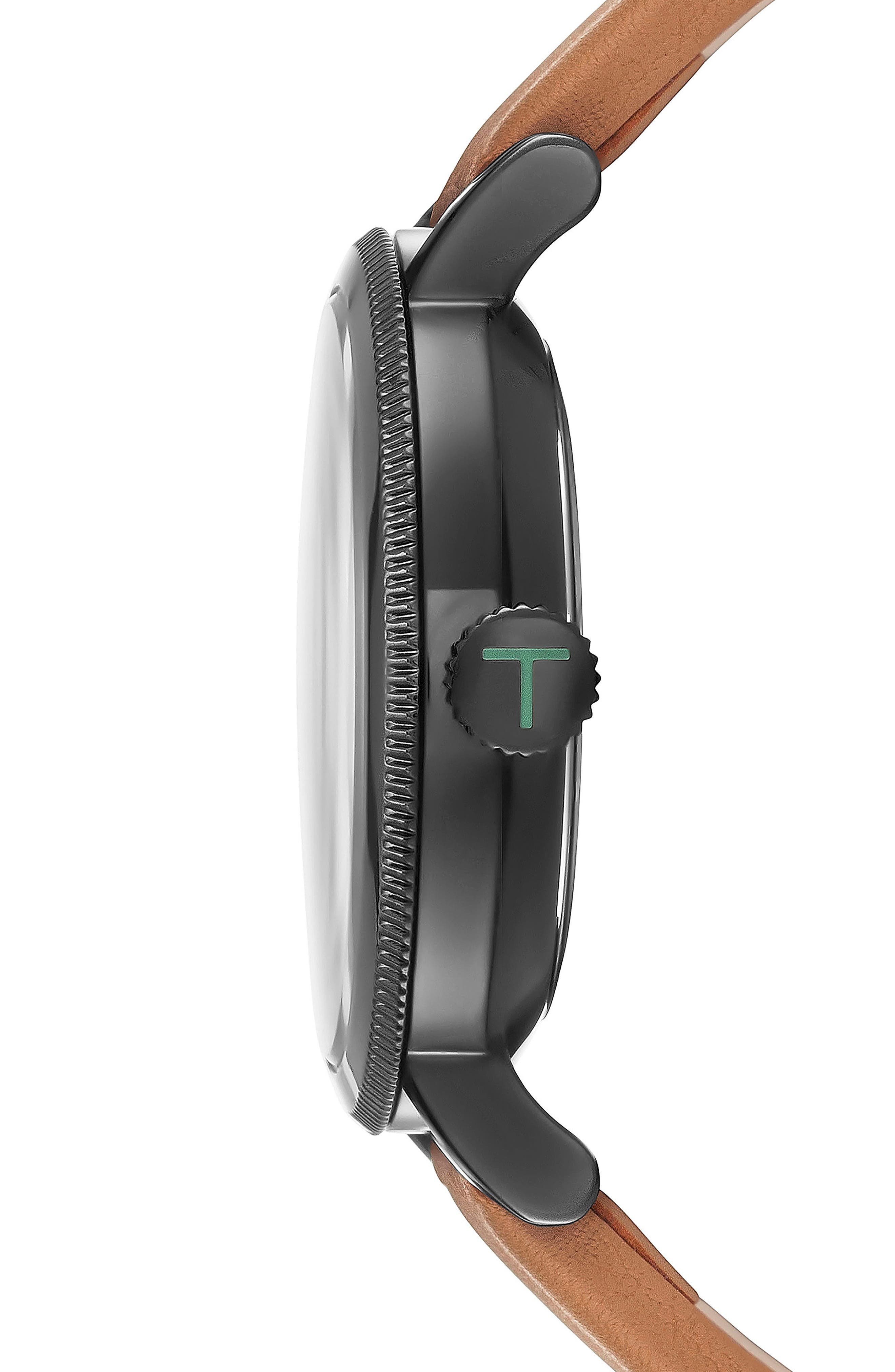 Connor Leather Strap Watch, 42mm,                             Alternate thumbnail 3, color,                             Gunmetal/Tan