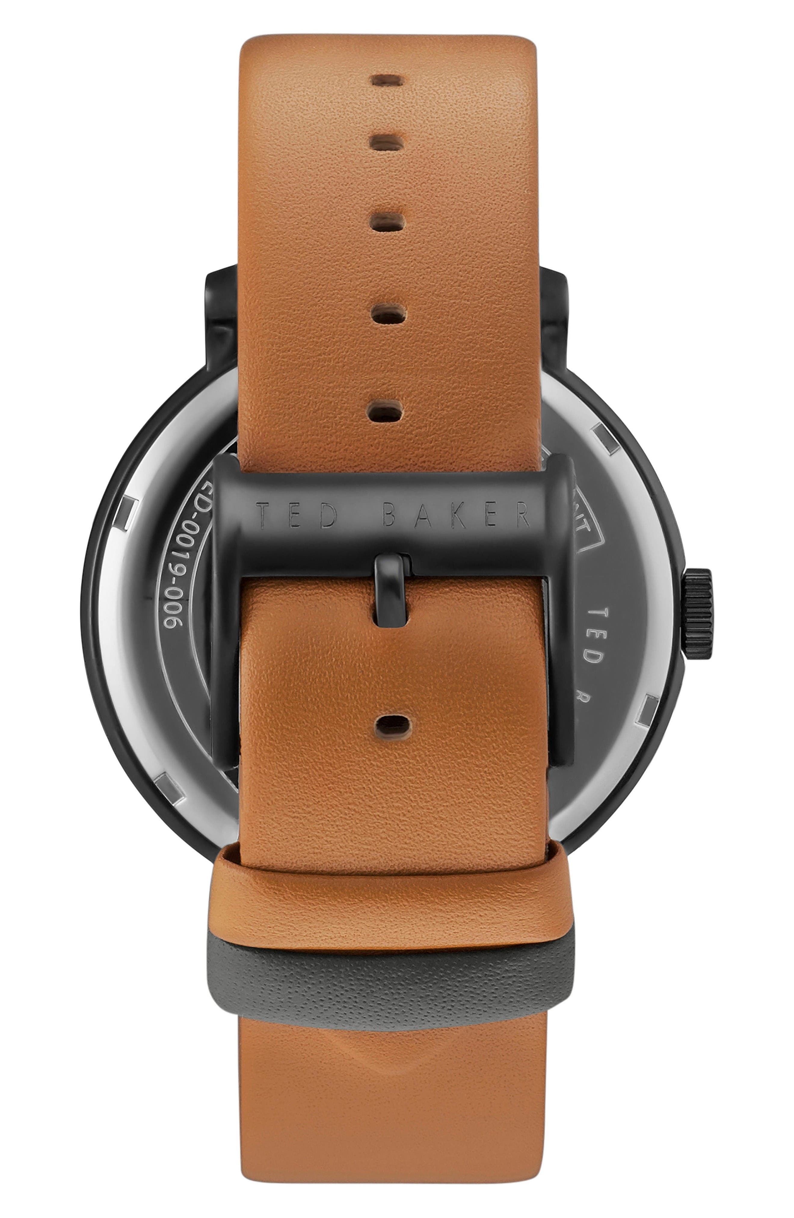 Oliver Leather Strap Watch, 42mm,                             Alternate thumbnail 2, color,                             Grey/ Tan