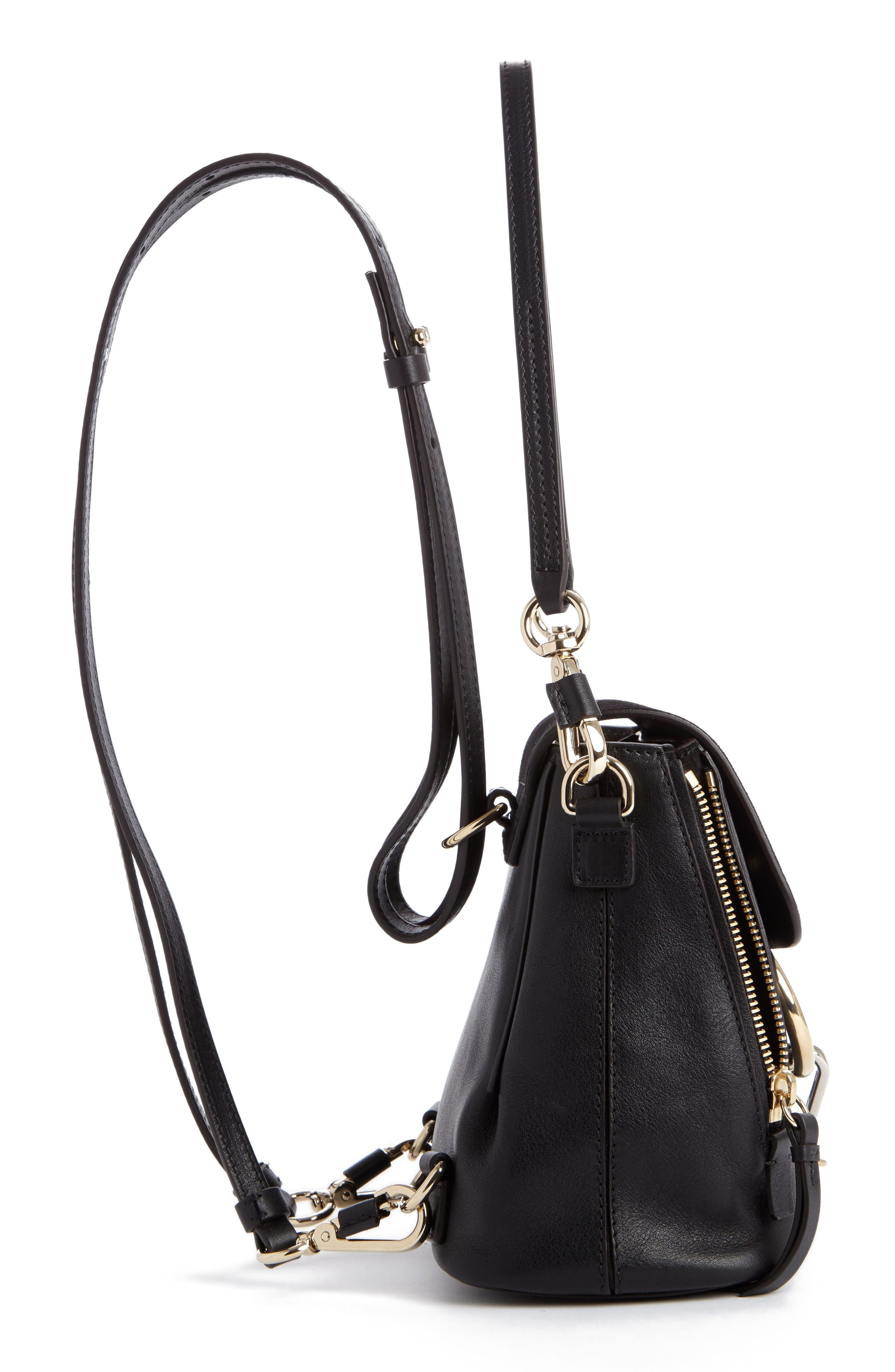 Mini Faye Leather & Suede Backpack,                             Alternate thumbnail 3, color,                             001 Black