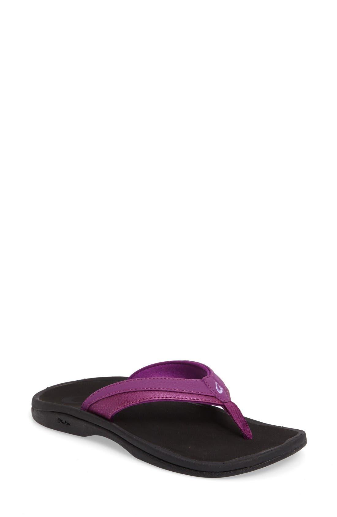 Ohana Sandal,                         Main,                         color, Dahlia/ Black Faux Leather