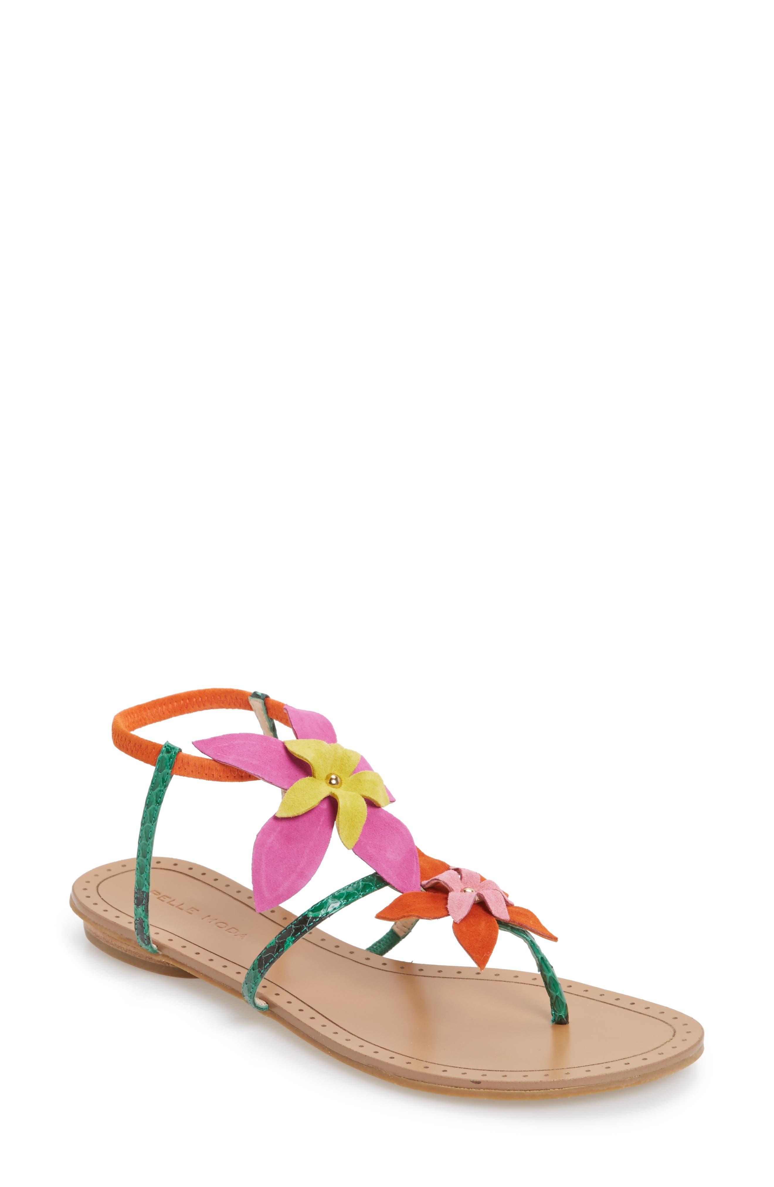 Pelle Moda Ellis Strappy Flowered Sandal (Women)
