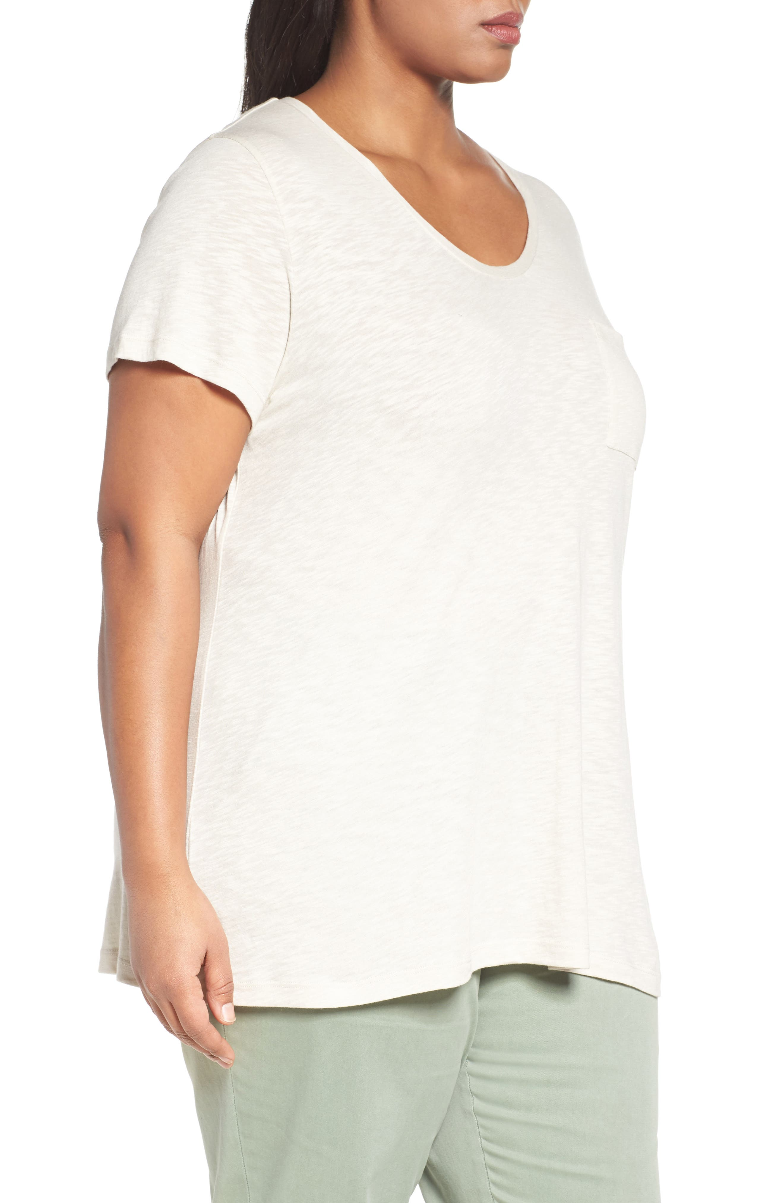 Rounded V-Neck Tee,                             Alternate thumbnail 3, color,                             Beige Rainy Day