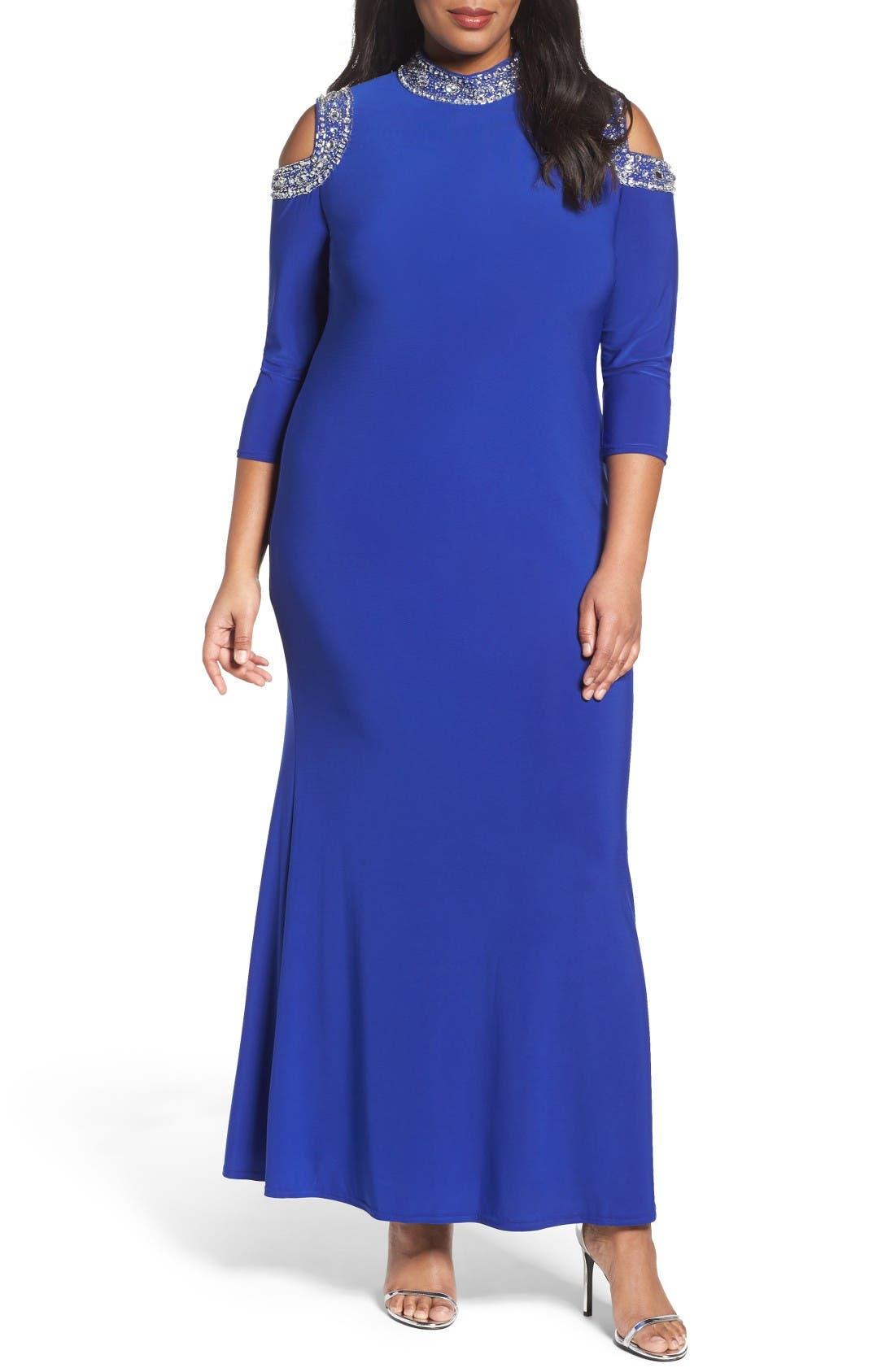 Main Image - Marina Embellished Neck Cold Shoulder Gown (Plus Size)