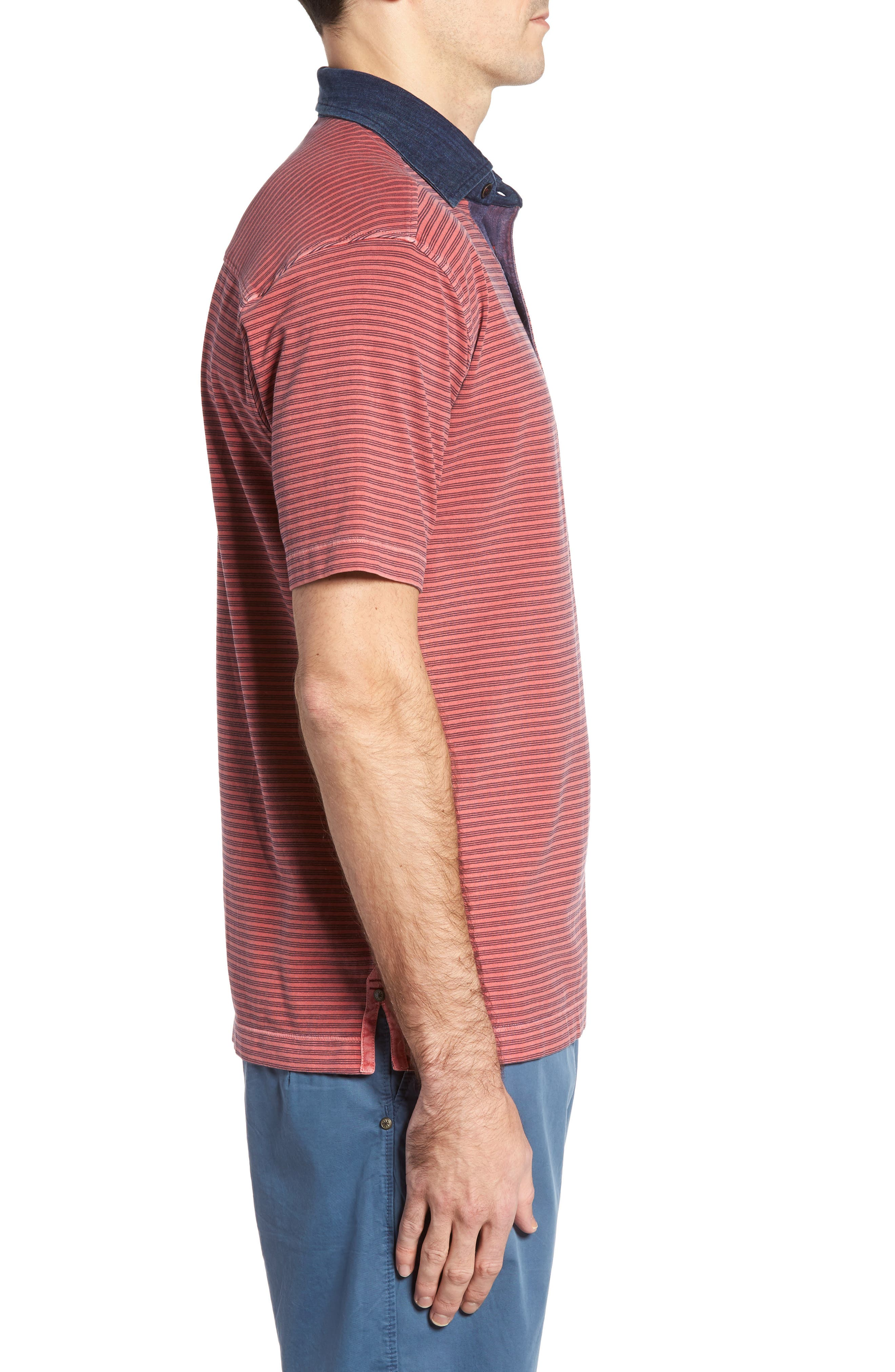 Ivan Stripe Stretch Jersey Polo,                             Alternate thumbnail 3, color,                             True Red