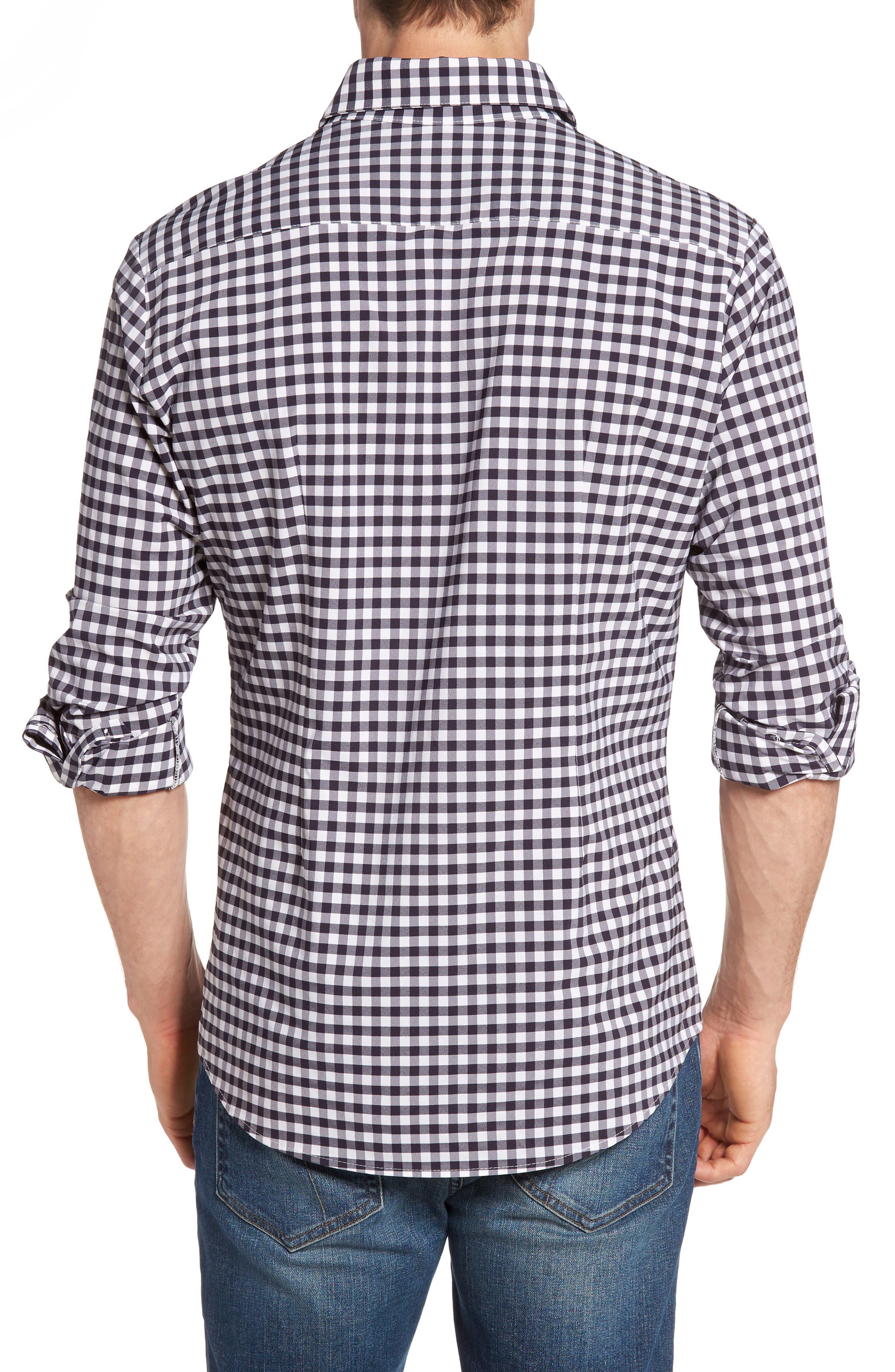 Montauk Slim Fit Gingham Performance Sport Shirt,                             Alternate thumbnail 3, color,                             Navy