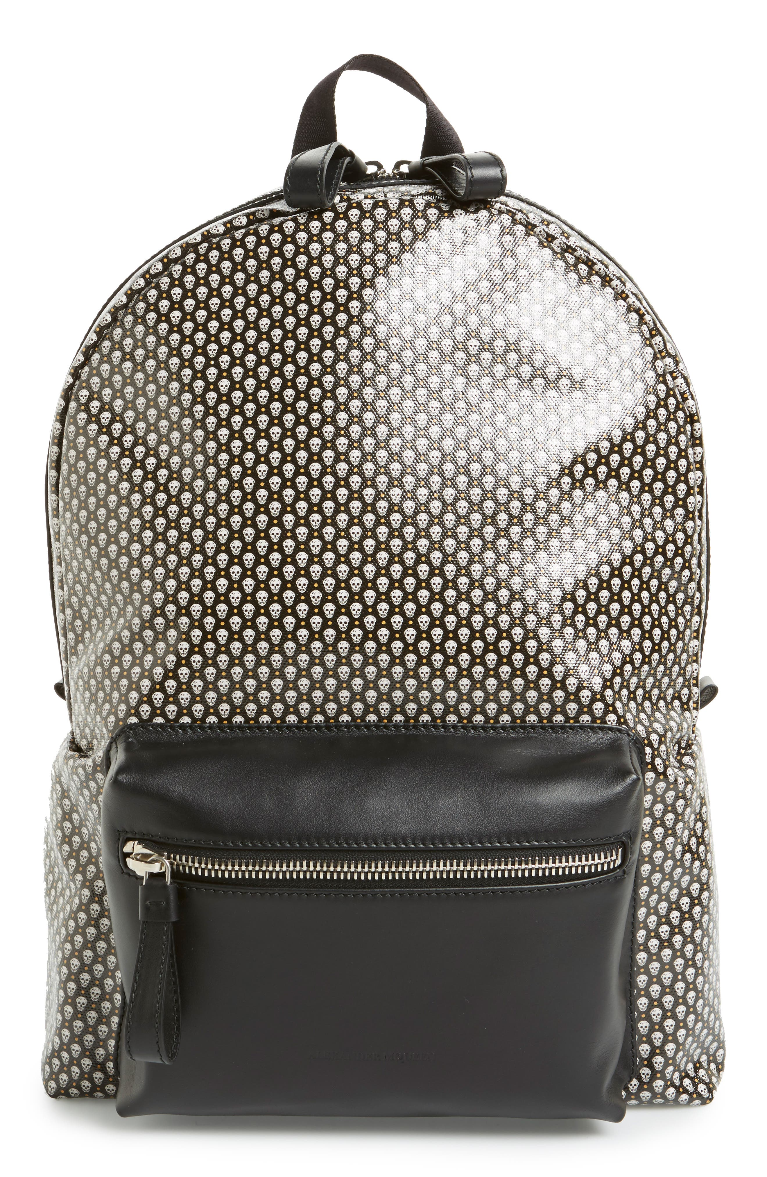 ALEXANDER MCQUEEN Skull Print Coated Canvas Backpack with Leather Trim