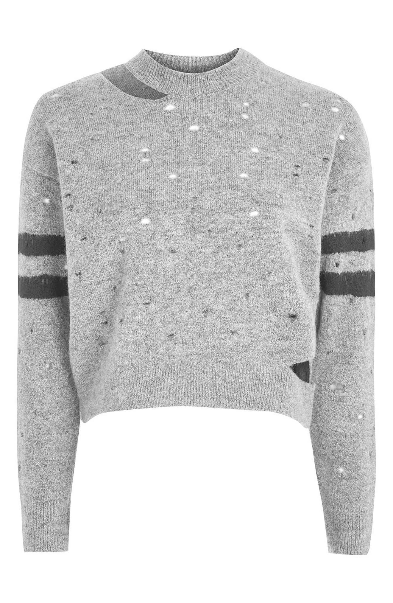 Alternate Image 4  - Topshop Nibbled Stripe Sweater