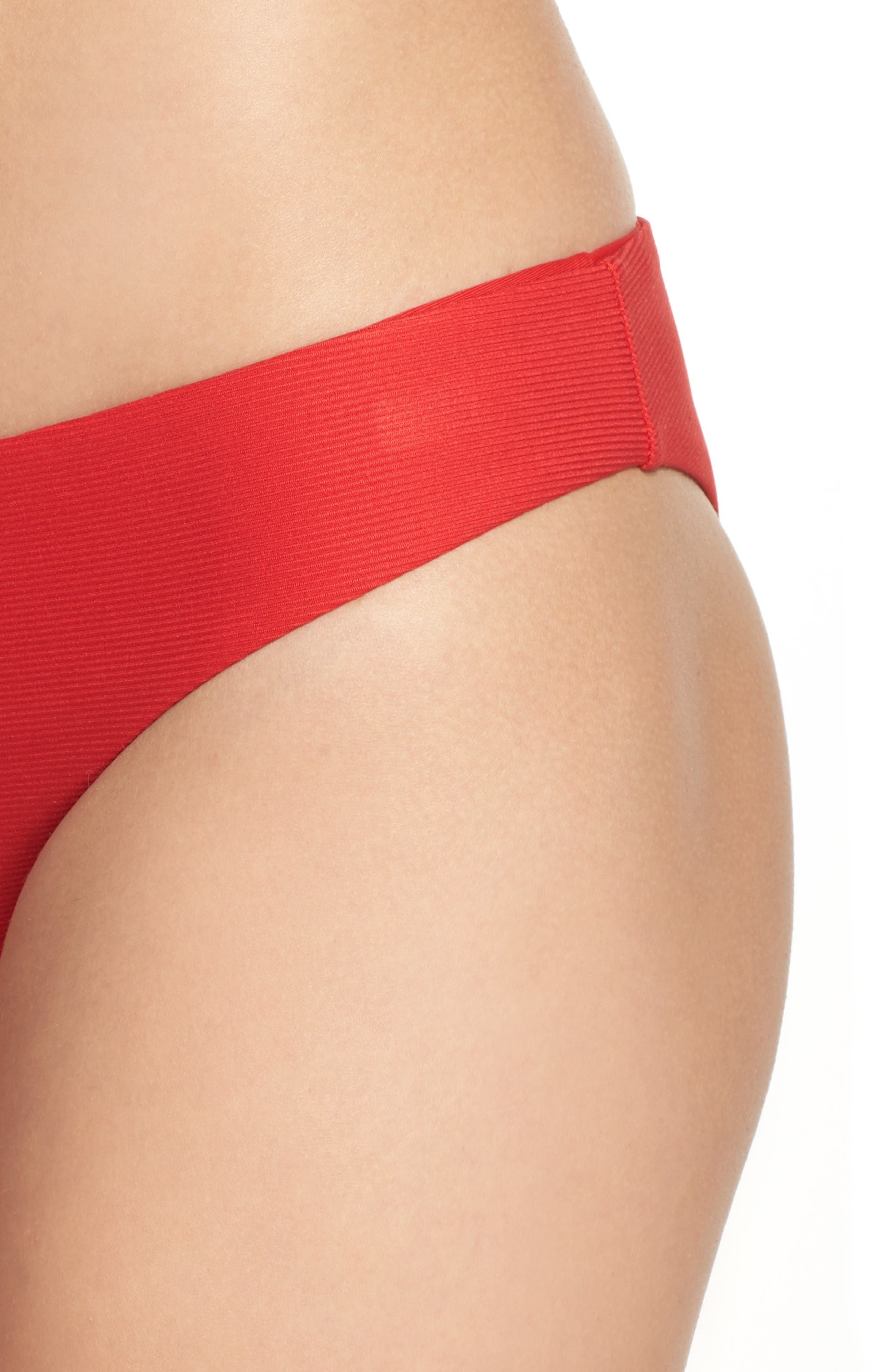 Ali Ribbed Bikini Bottoms,                             Alternate thumbnail 4, color,                             Viking Red Ribbed