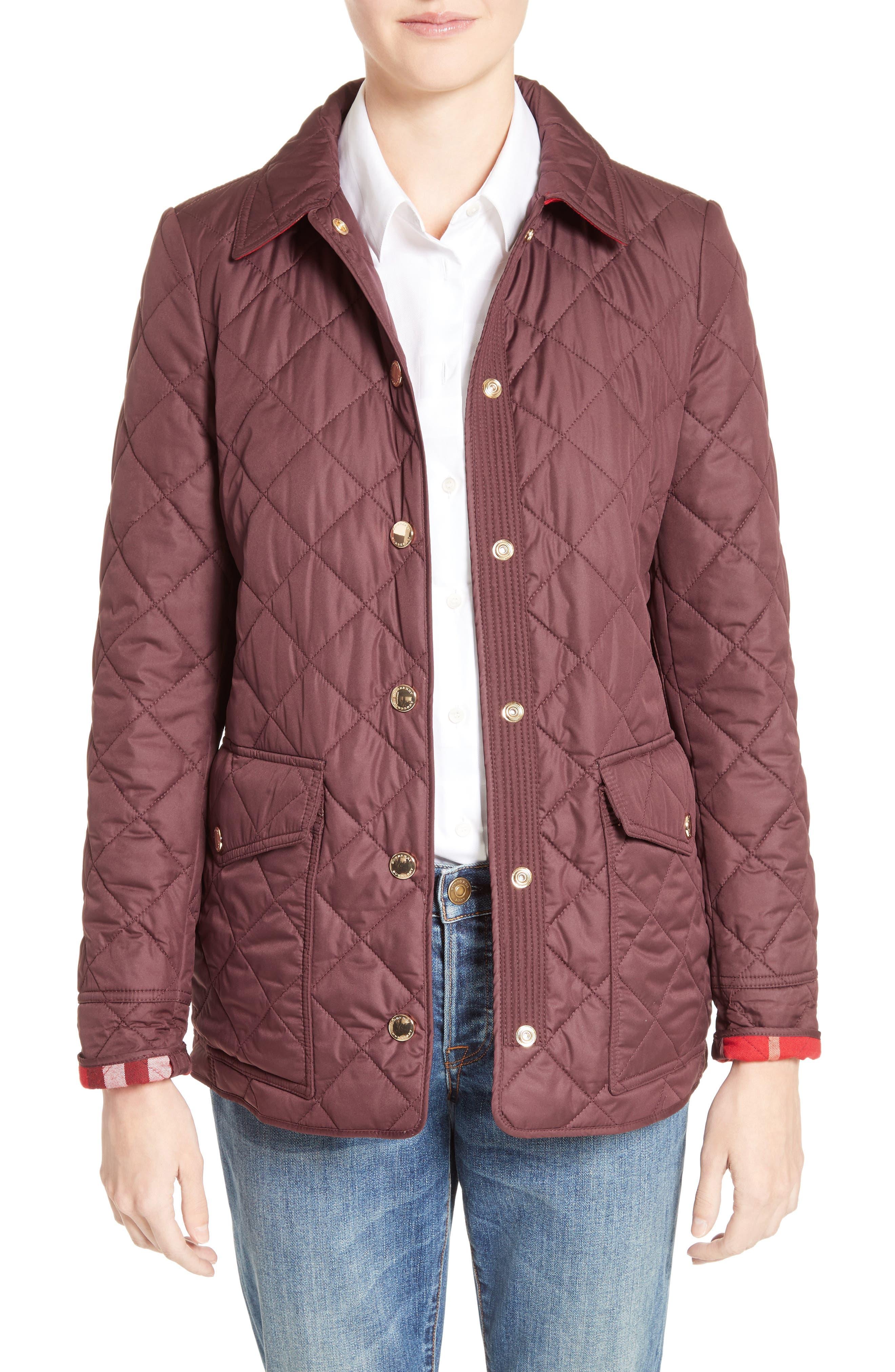 Westbridge Quilted Jacket,                         Main,                         color, Burgundy