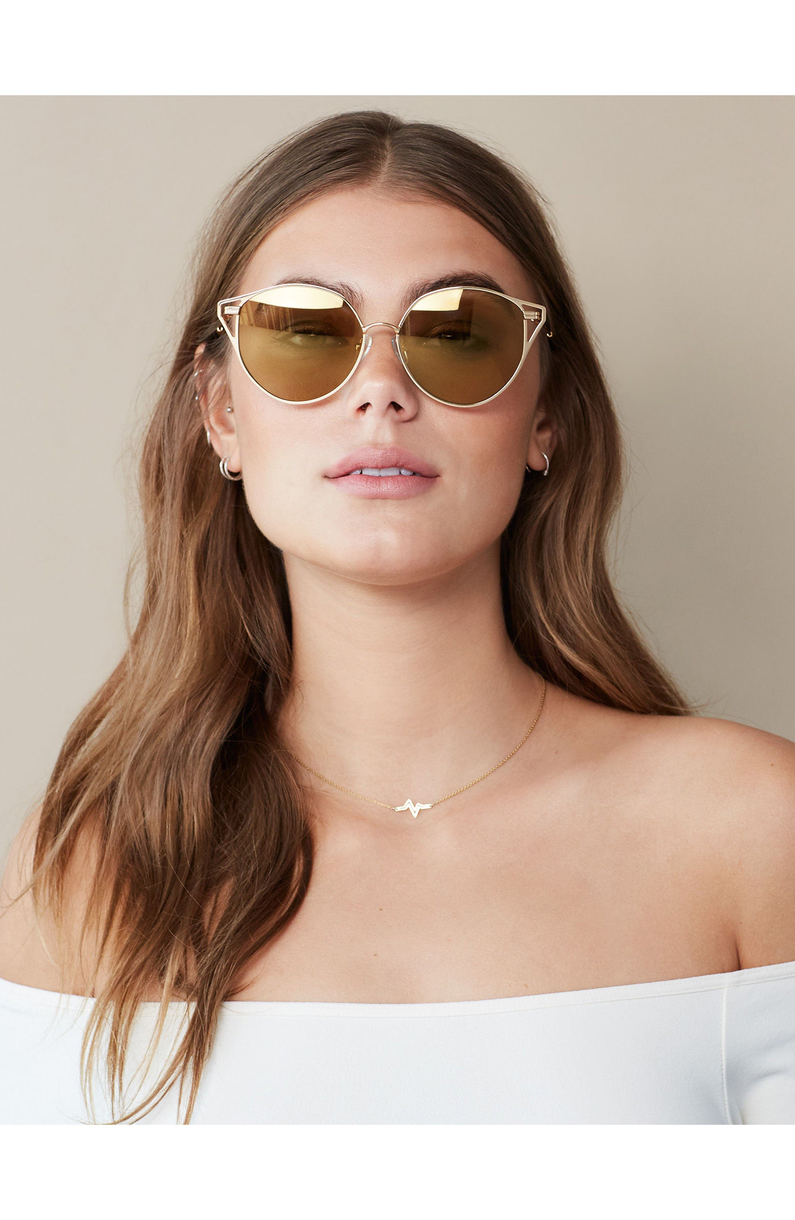 Ibiza 55mm Cat Eye Sunglasses,                             Alternate thumbnail 4, color,                             Gold Wire/ Amber Mirror