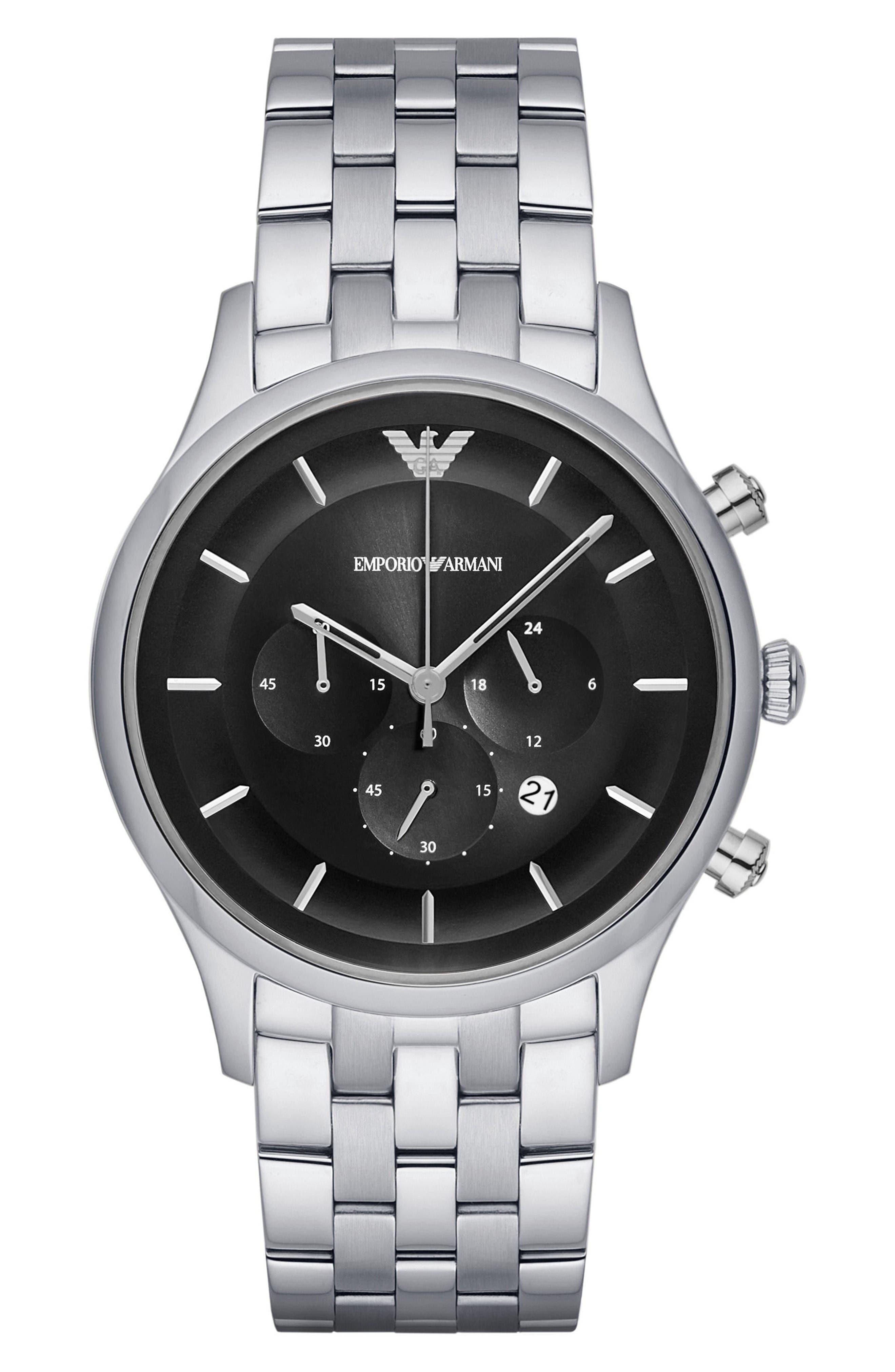 Chronograph Bracelet Watch, 43mm,                         Main,                         color, Black/ Silver