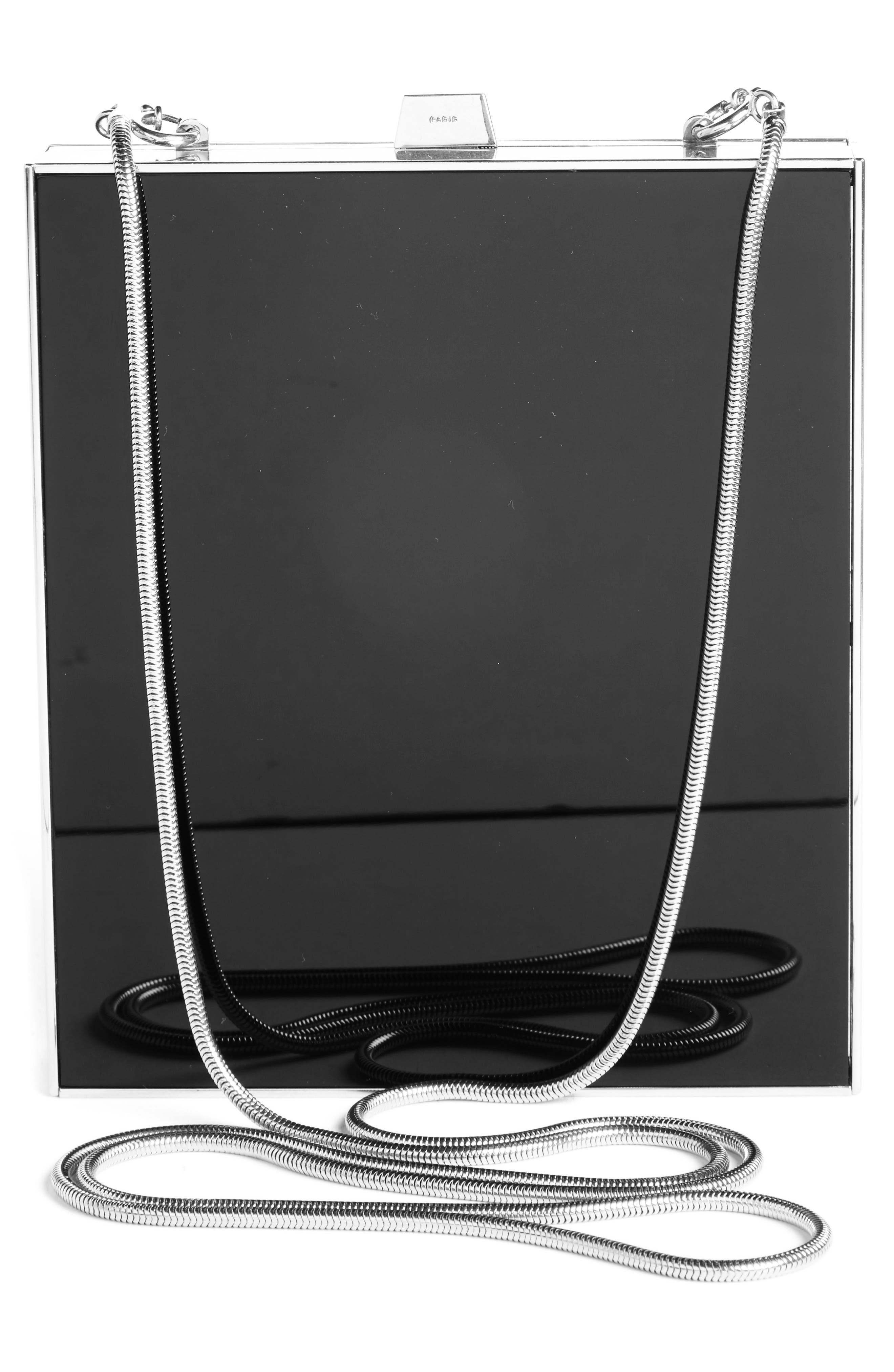 Tuxedo Plexiglass Clutch,                             Alternate thumbnail 2, color,                             Noir/ Silver