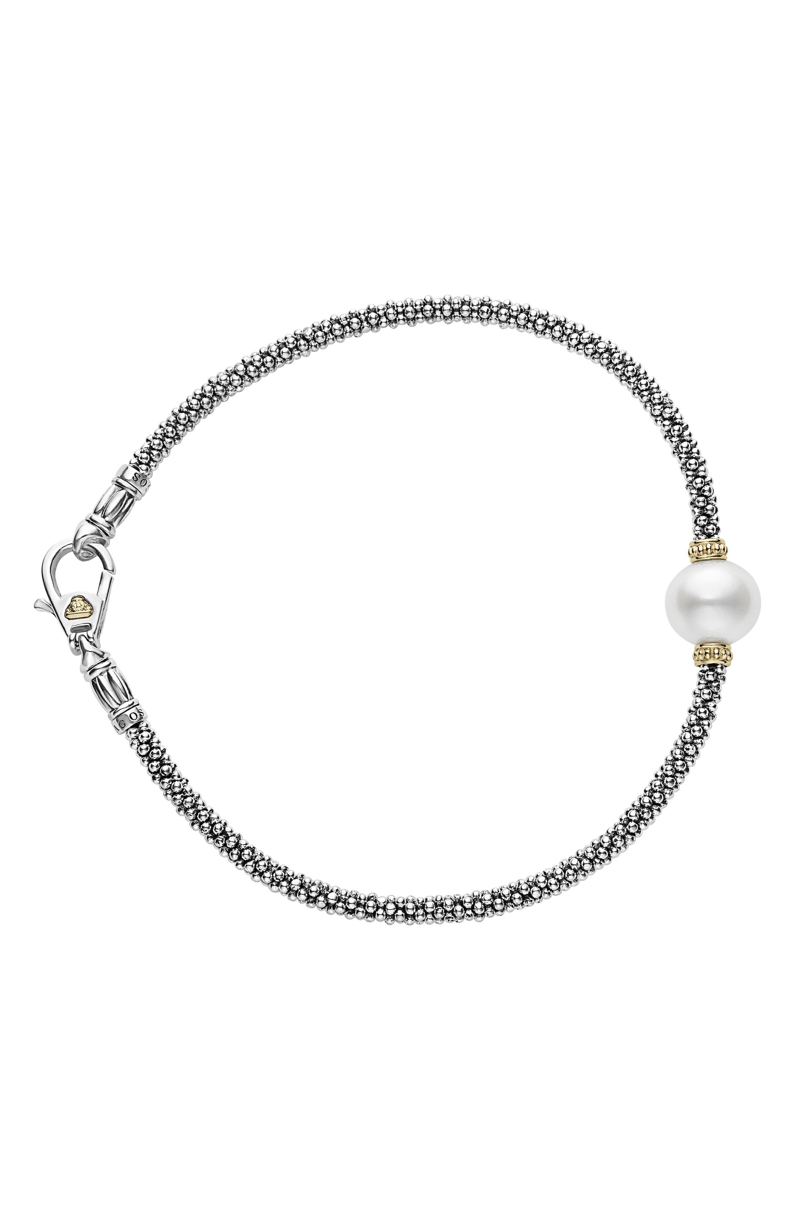 Luna Pearl Single Station Caviar Bracelet,                         Main,                         color, Silver/ Pearl