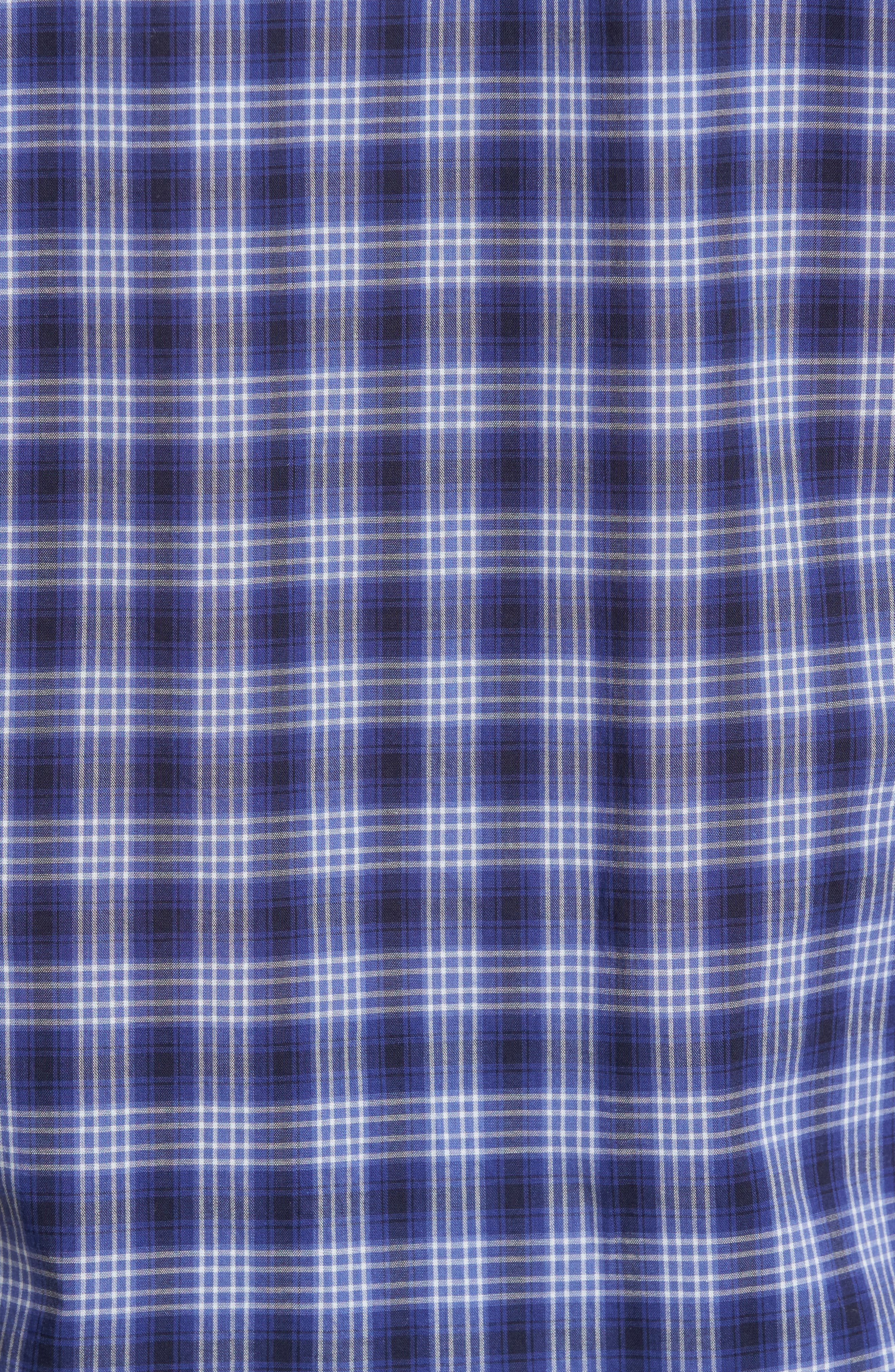 Medina Slim Fit Plaid Sport Shirt,                             Alternate thumbnail 5, color,                             Pacific