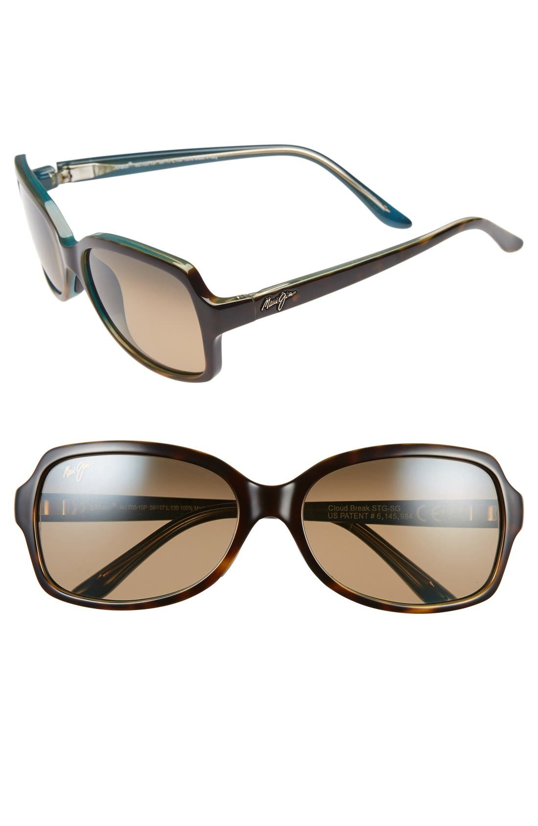 Cloud Break 56mm PolarizedPlus2<sup>®</sup> Sunglasses,                         Main,                         color, Tortoise Peacock/ Blue/ Bronze