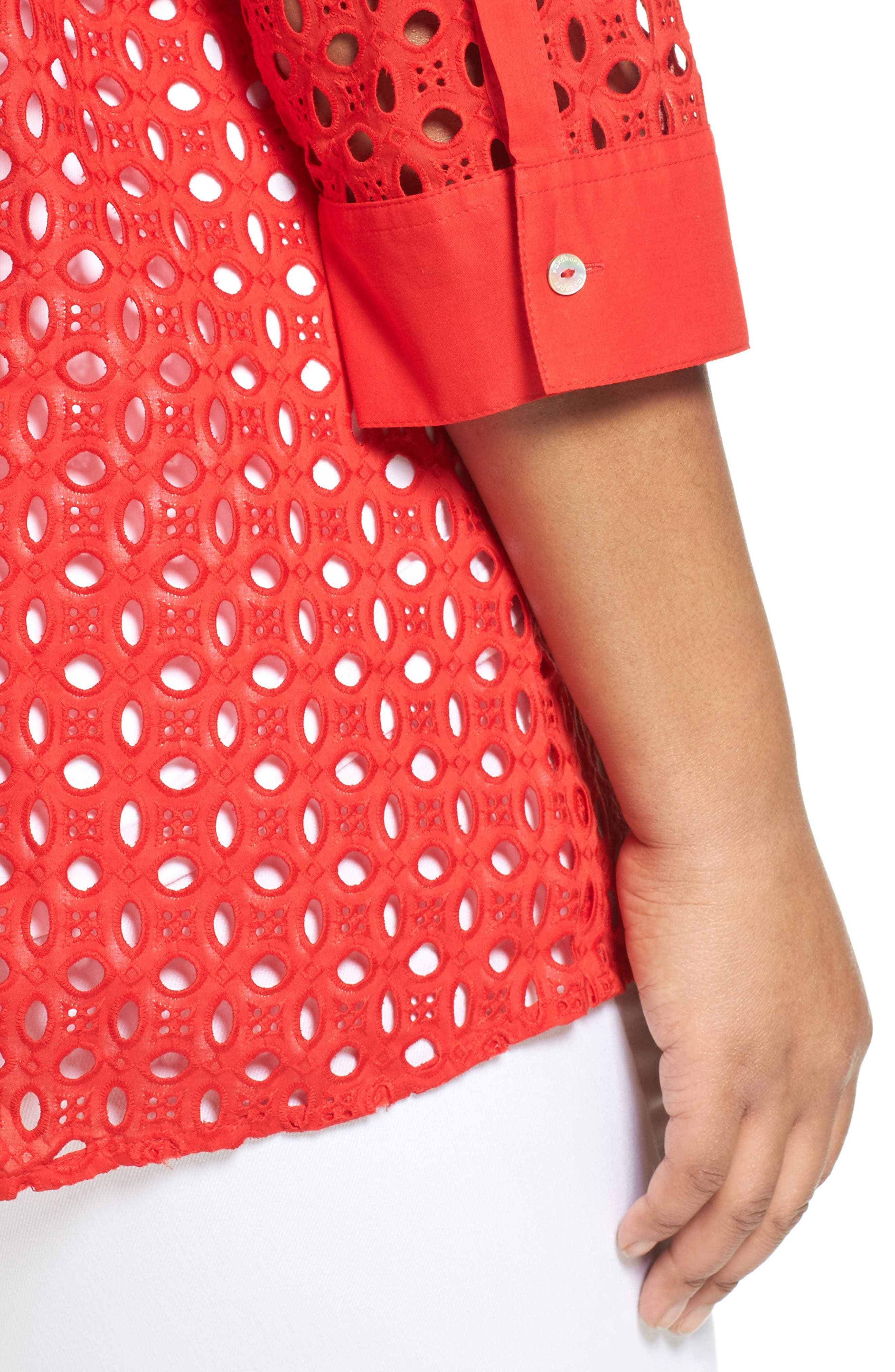 Alternate Image 4  - Foxcroft Eyelet Cotton Tunic (Plus Size)