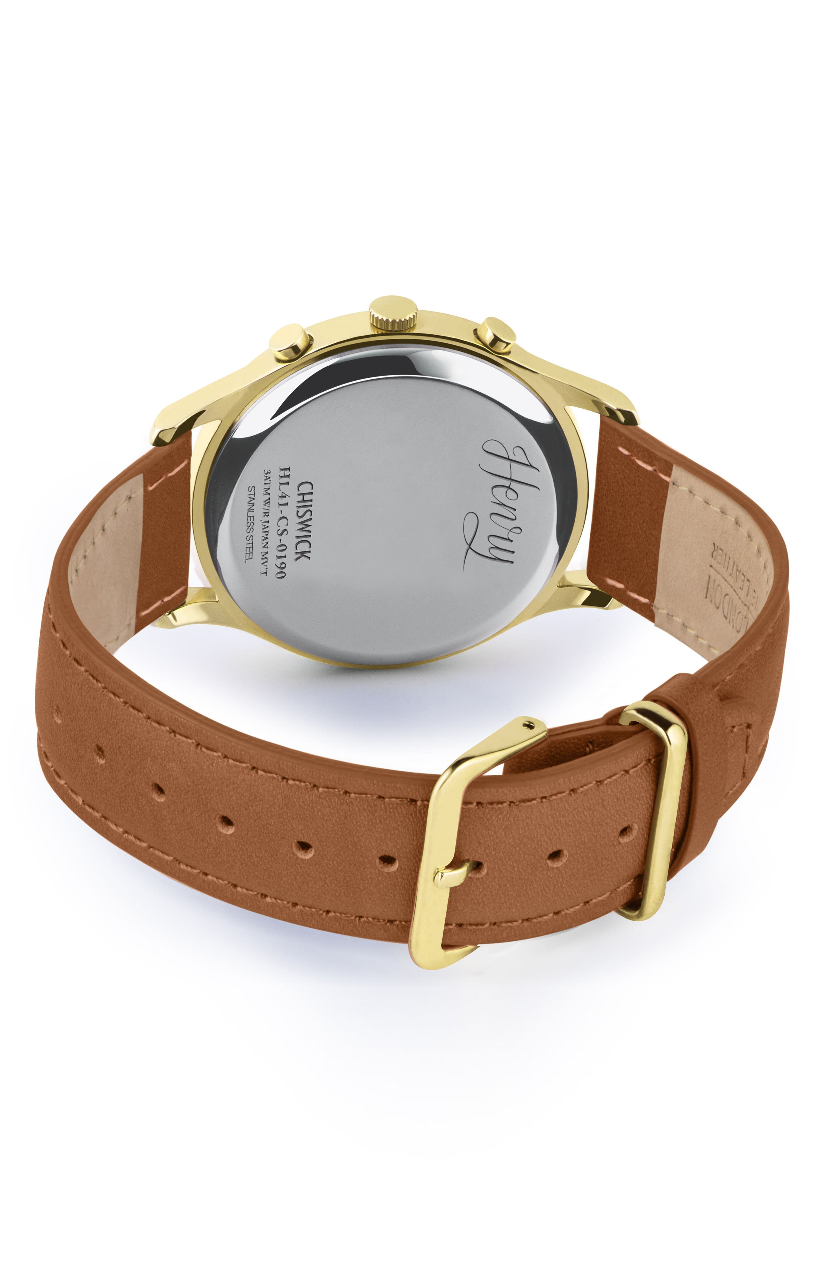 Chiswick Chronograph Leather Strap Watch, 41mm,                             Alternate thumbnail 3, color,                             Brown/ Green/ Gold
