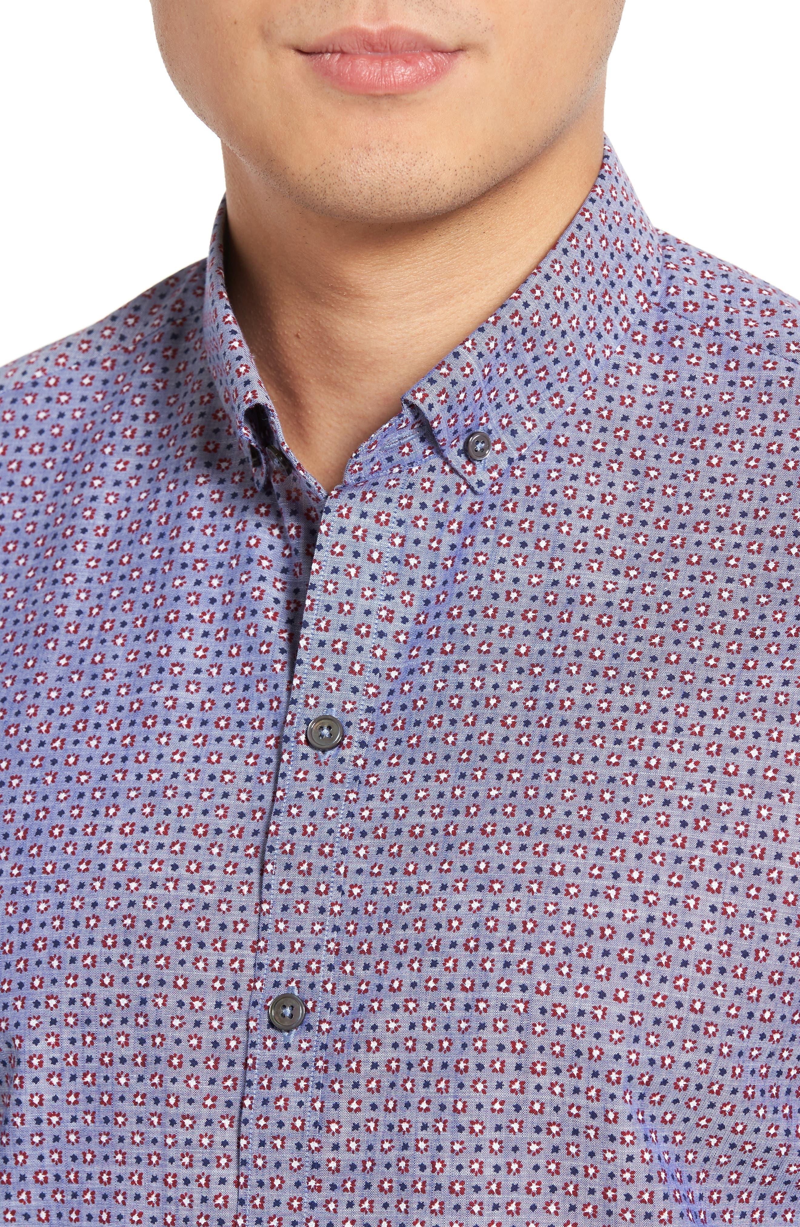 Chernow Trim Fit Print Sport Shirt,                             Alternate thumbnail 4, color,                             Denim