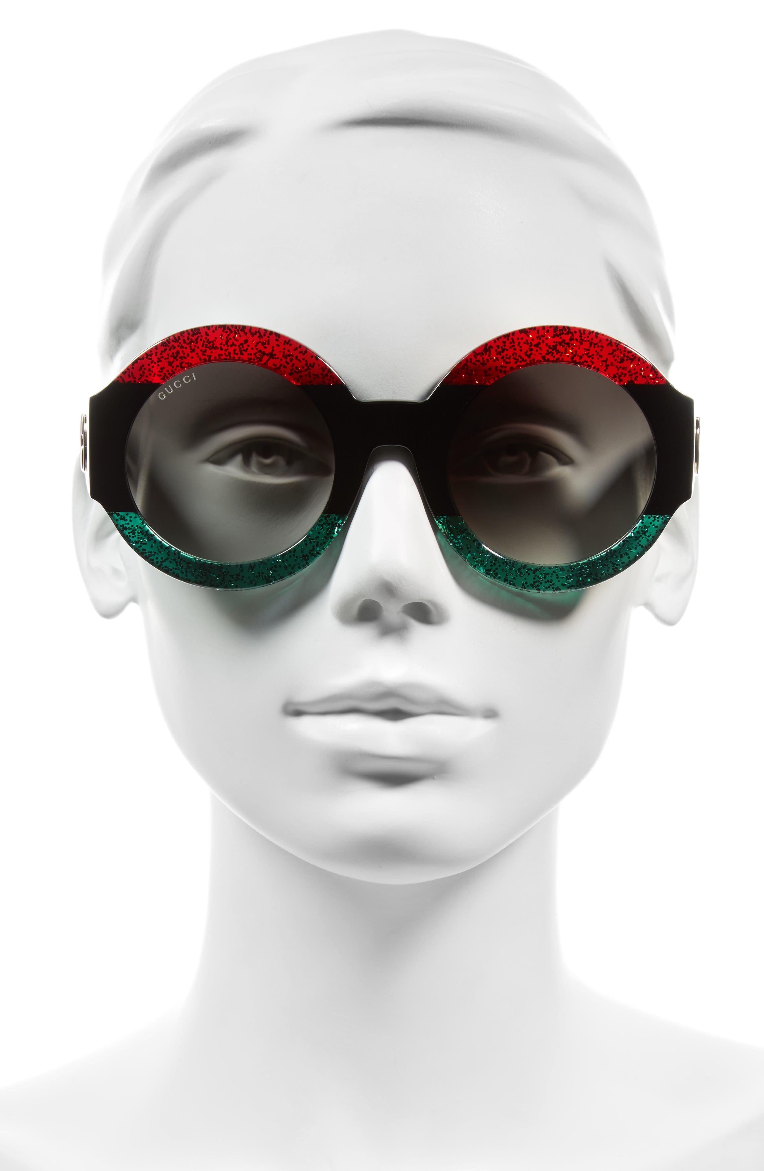 51mm Round Sunglasses,                             Alternate thumbnail 3, color,                             Red Black Green/ Grey