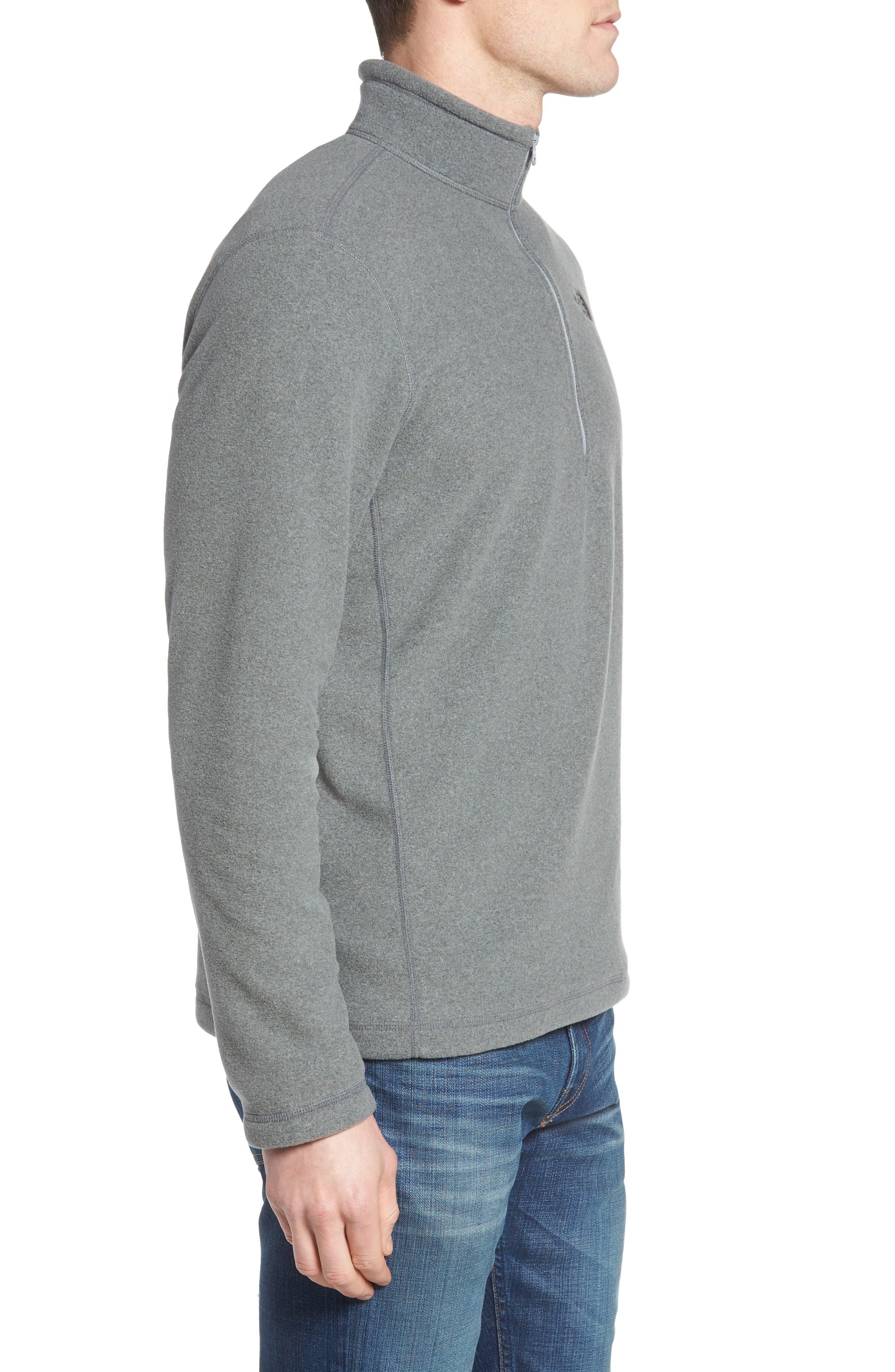 'TKA 100 Glacier' Quarter Zip Fleece Pullover,                             Alternate thumbnail 3, color,                             Tnf Medium Grey Heather
