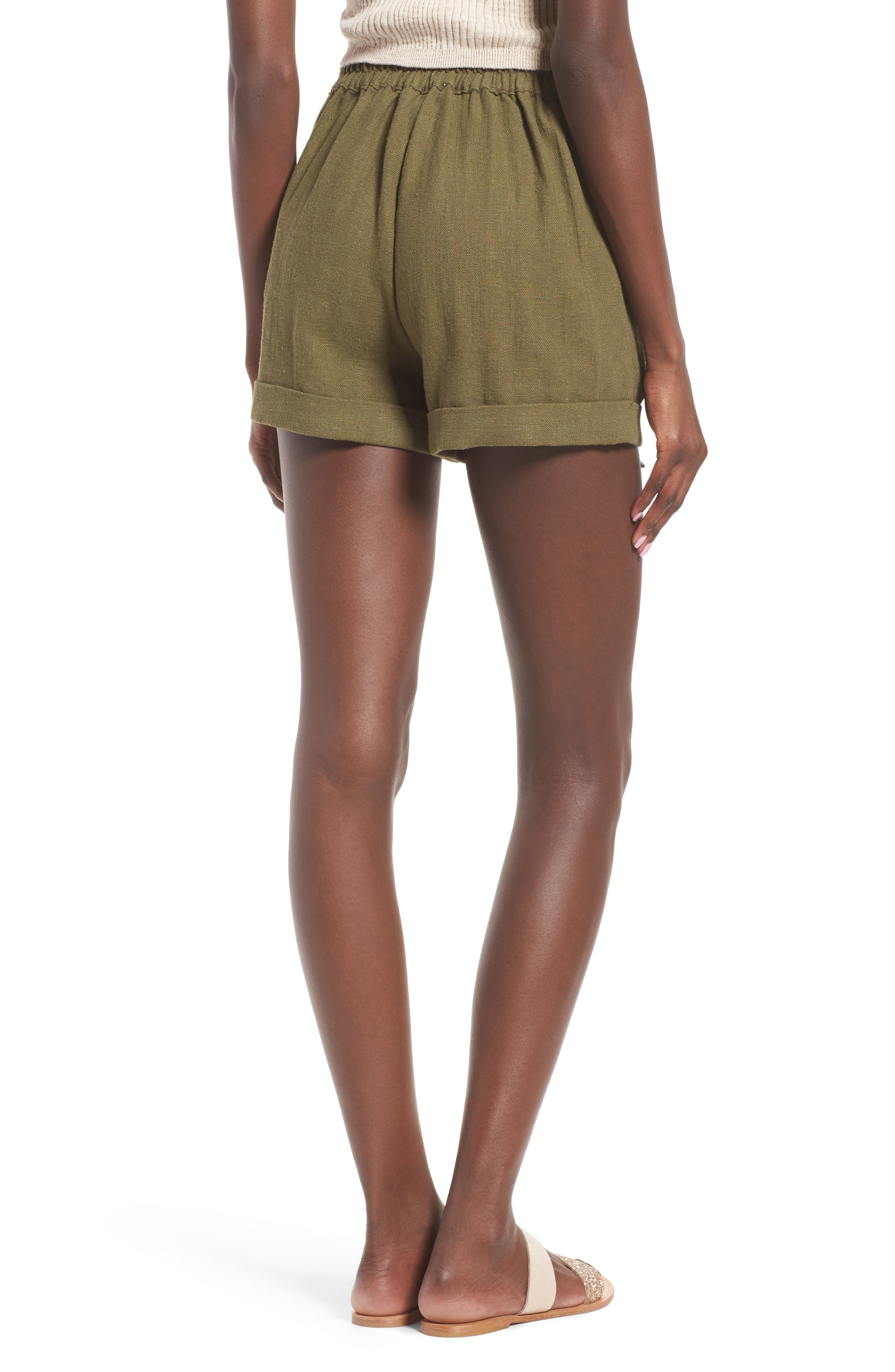 High Waist Linen & Cotton Shorts,                             Alternate thumbnail 3, color,                             Olive