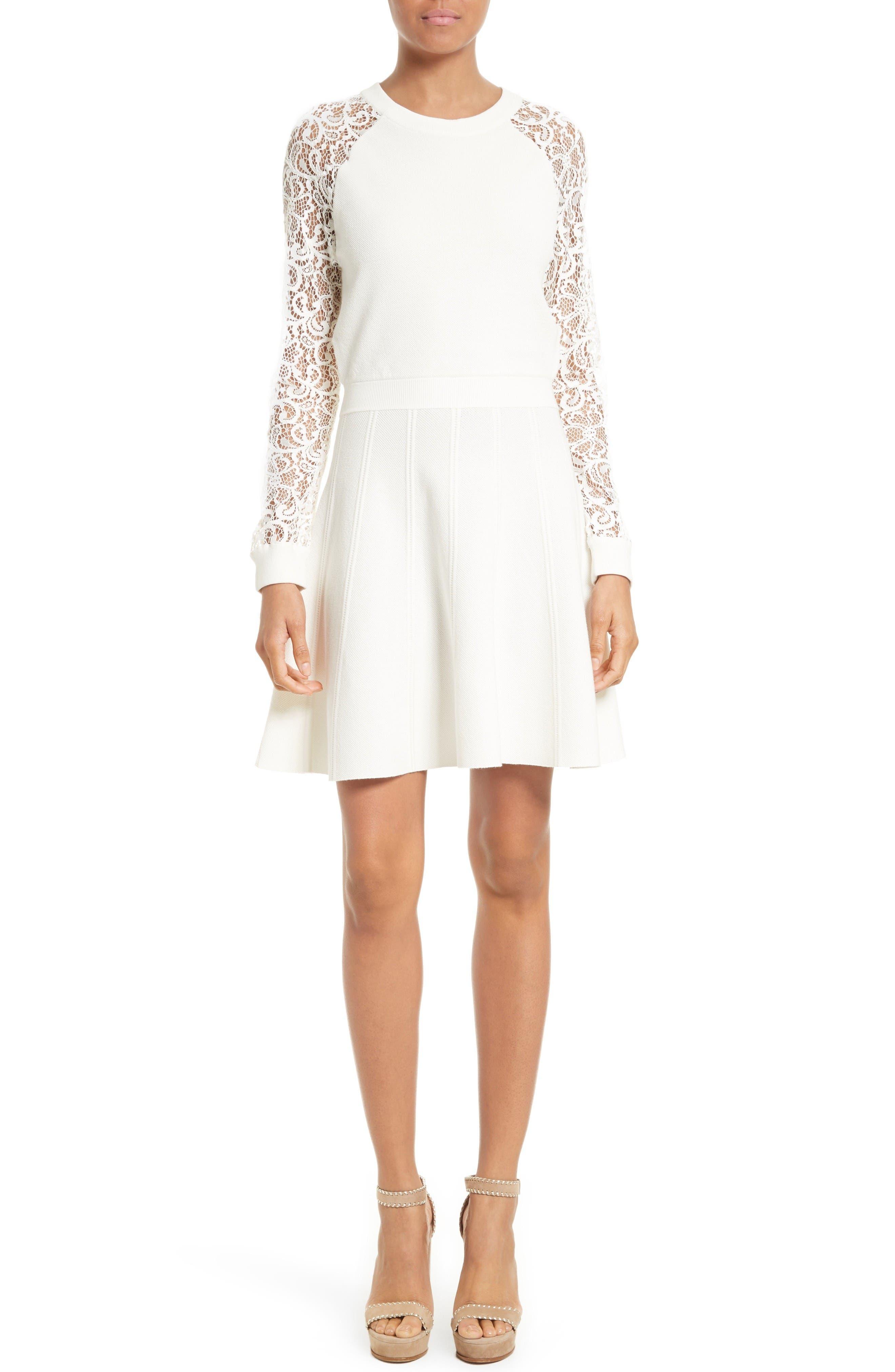 Main Image - Alice + Olivia Blake Lace Sleeve Sweater Dress