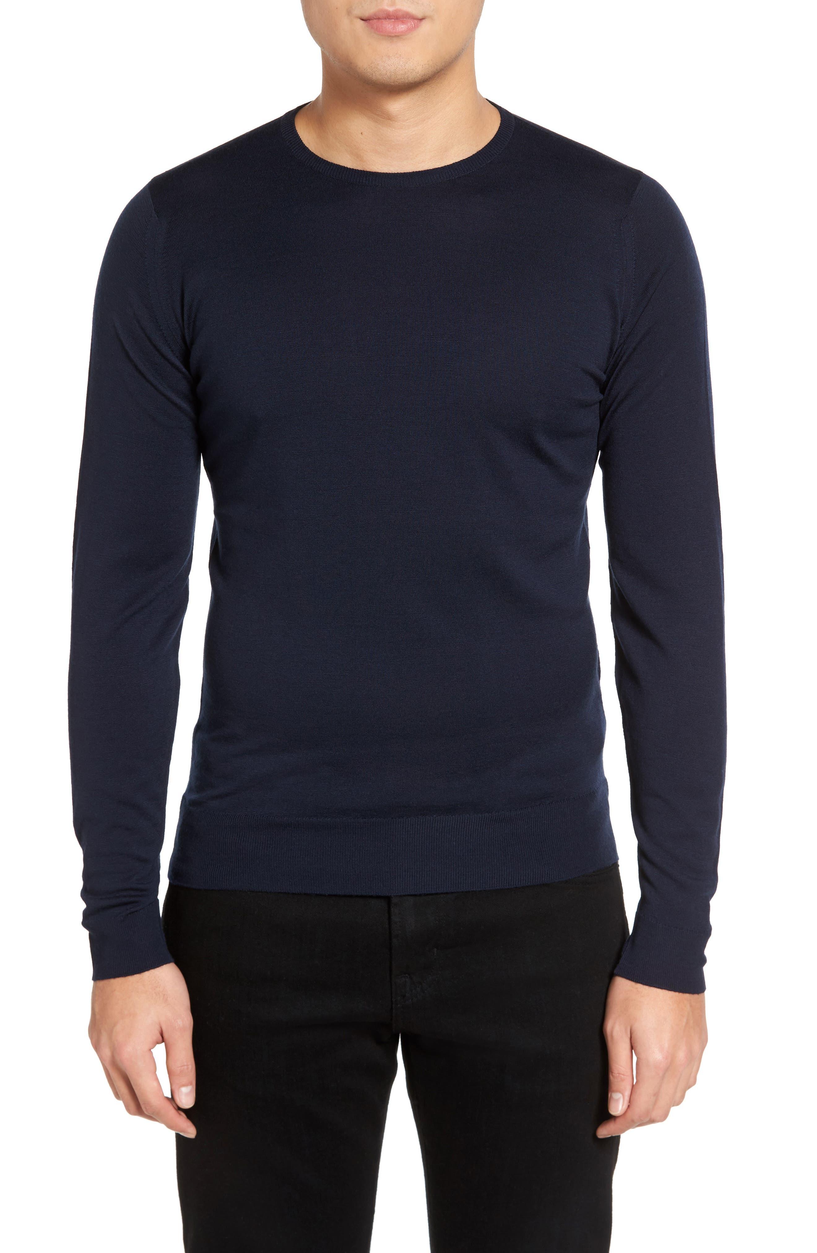 Merino Wool Sweater,                         Main,                         color, Midnight