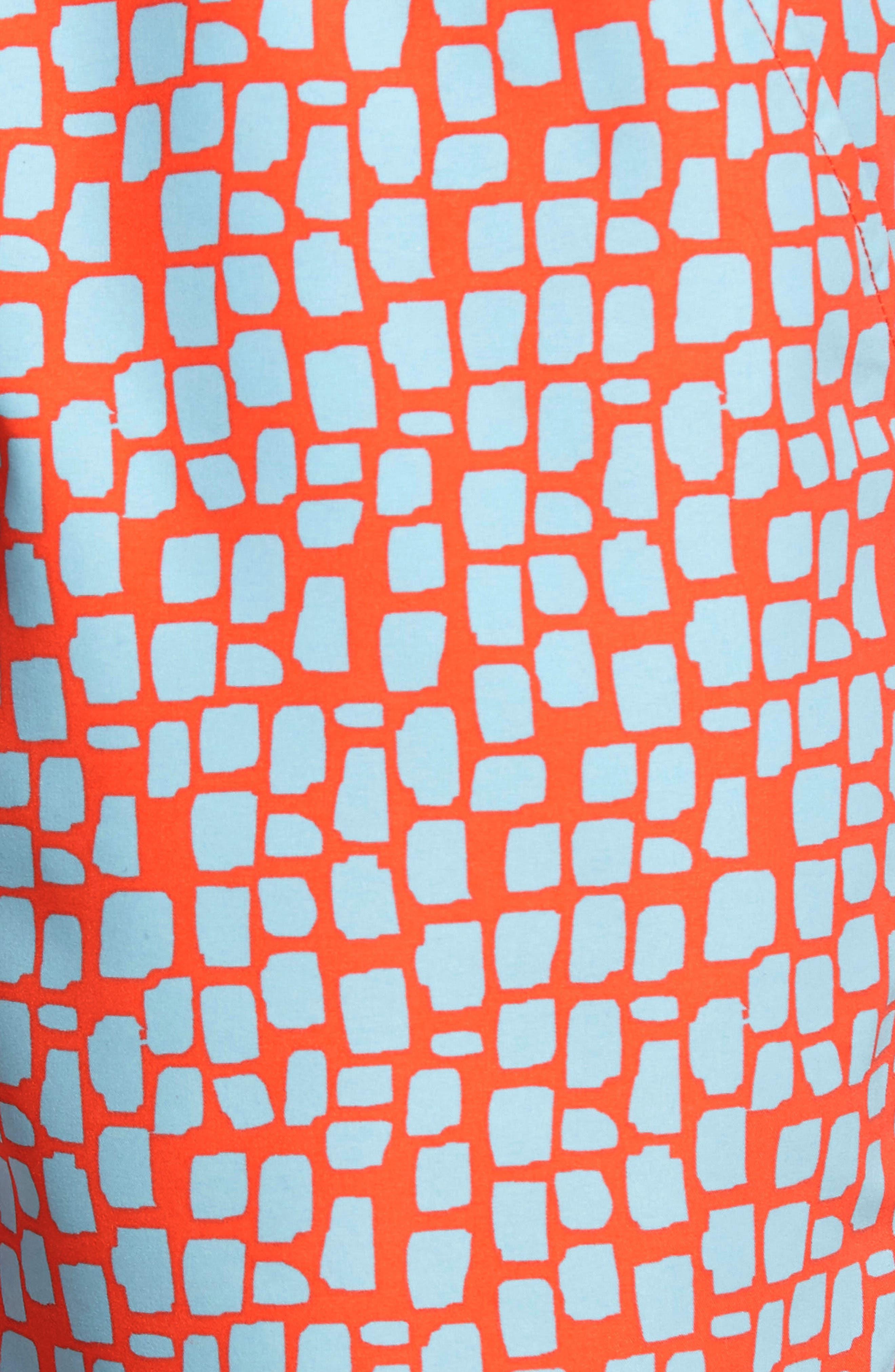 Skin Print Swim Trunks,                             Alternate thumbnail 5, color,                             Hot Coral