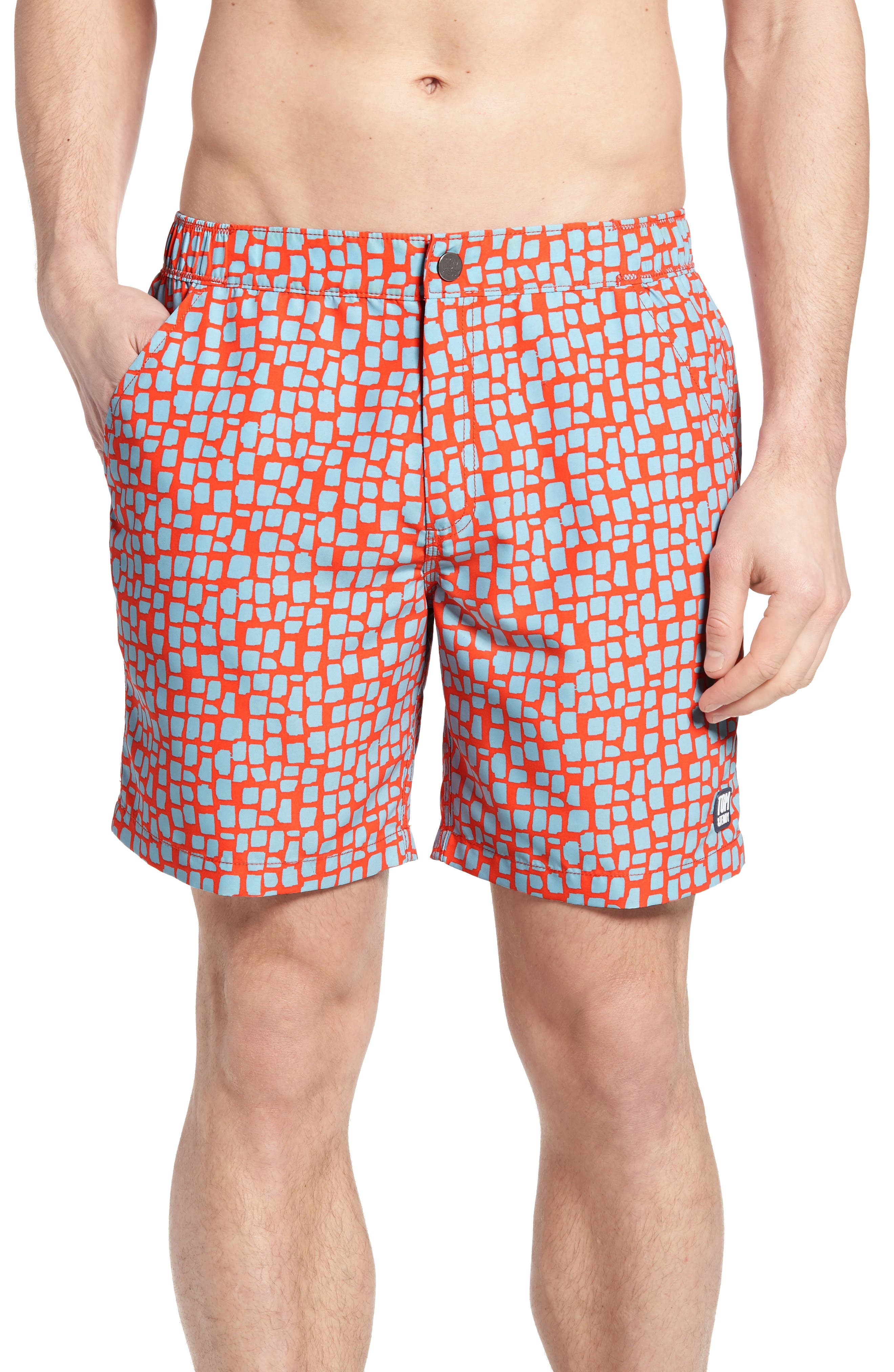 Skin Print Swim Trunks,                             Main thumbnail 1, color,                             Hot Coral