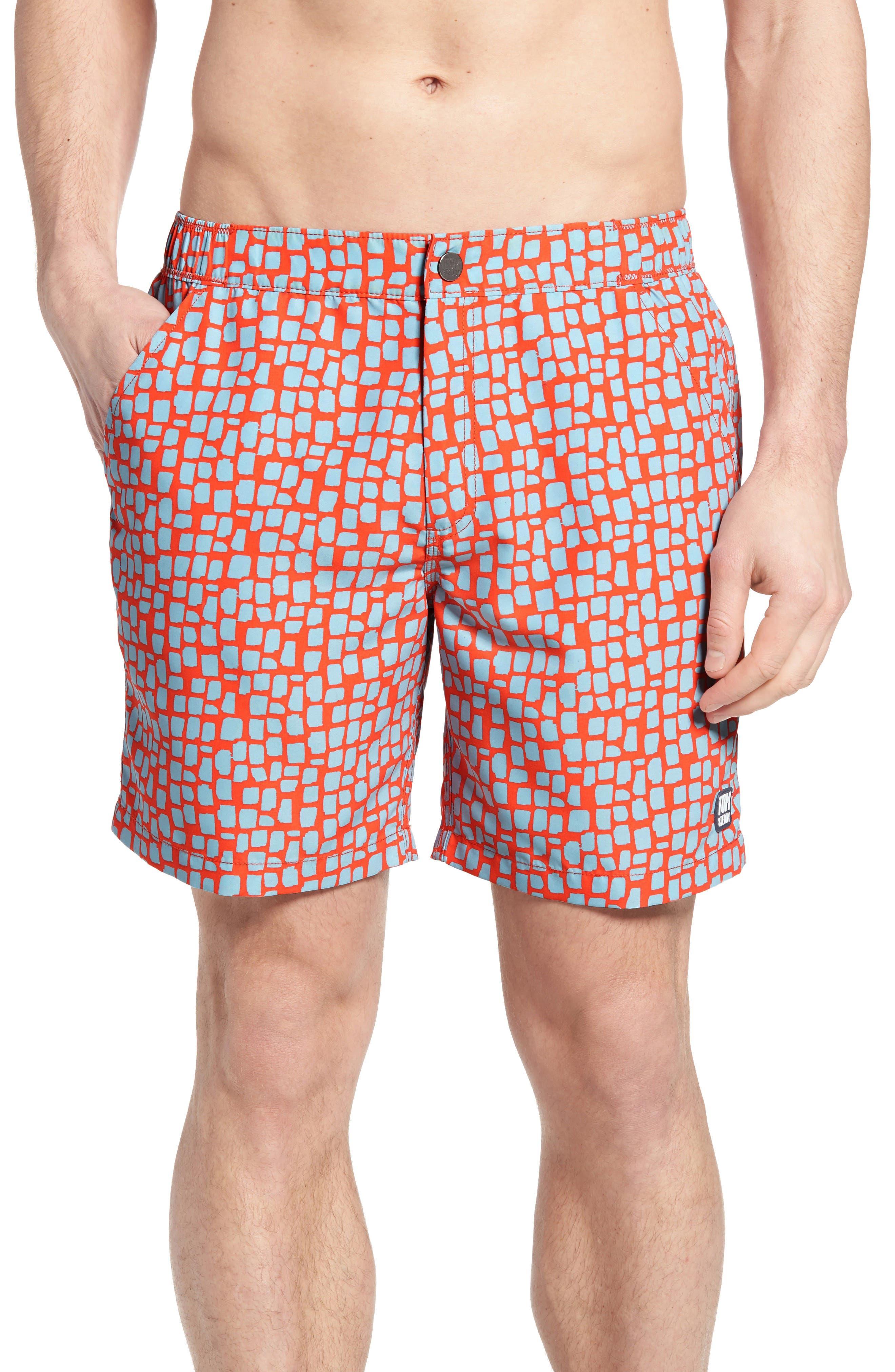 Skin Print Swim Trunks,                         Main,                         color, Hot Coral